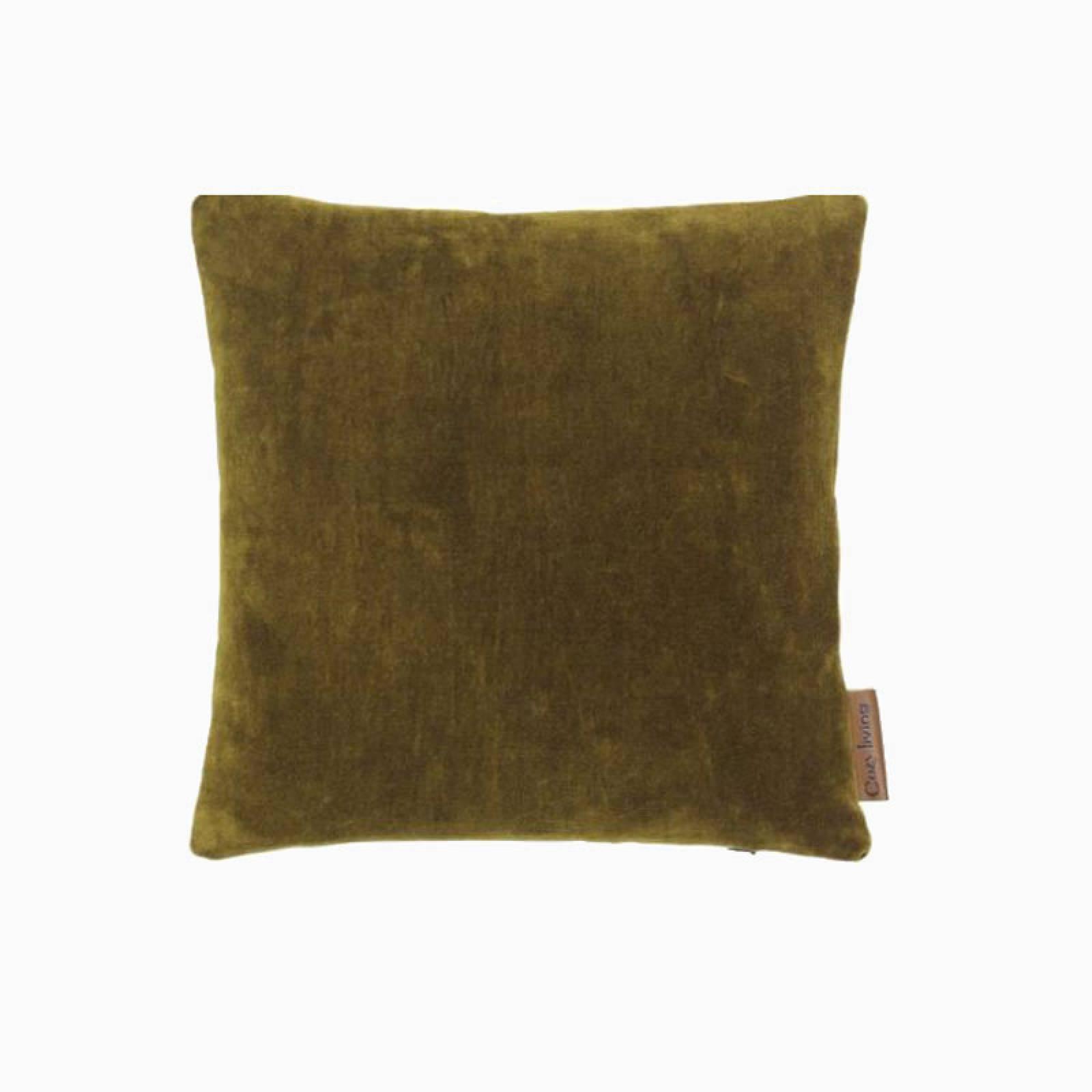 Square Mini Velvet Cushion In Mustard thumbnails