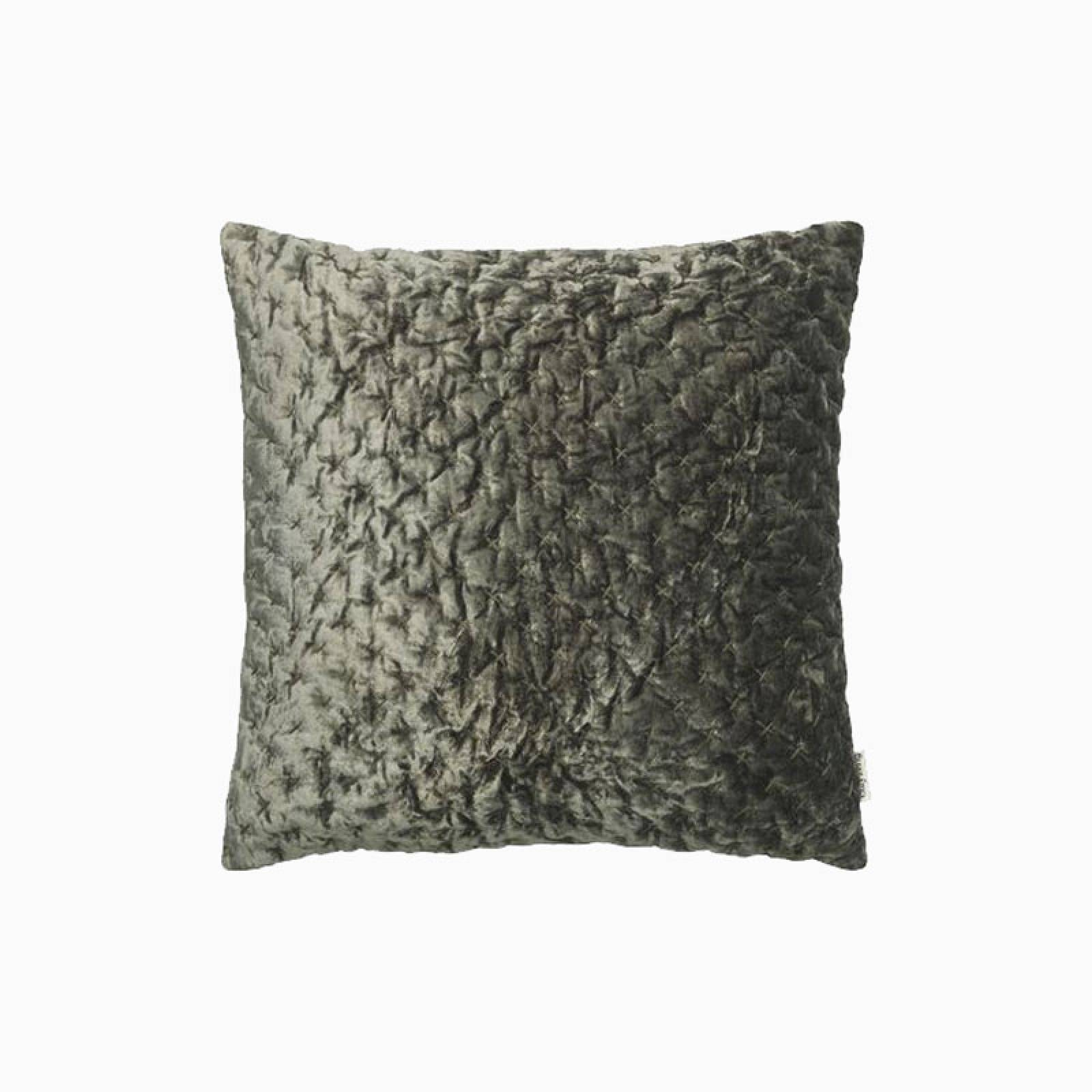 Square Velvet Embroidered Cushion In Army