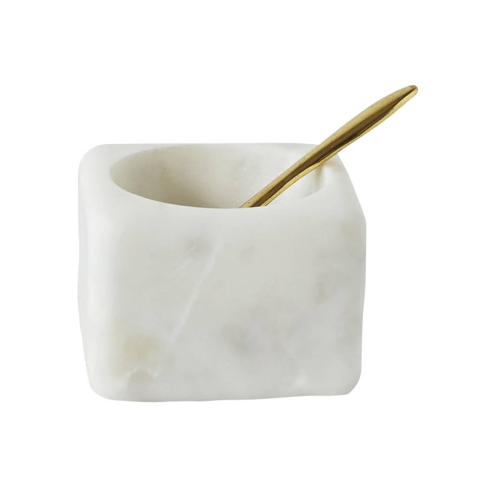 Square White Marble Salt Jar With Brass Spoon