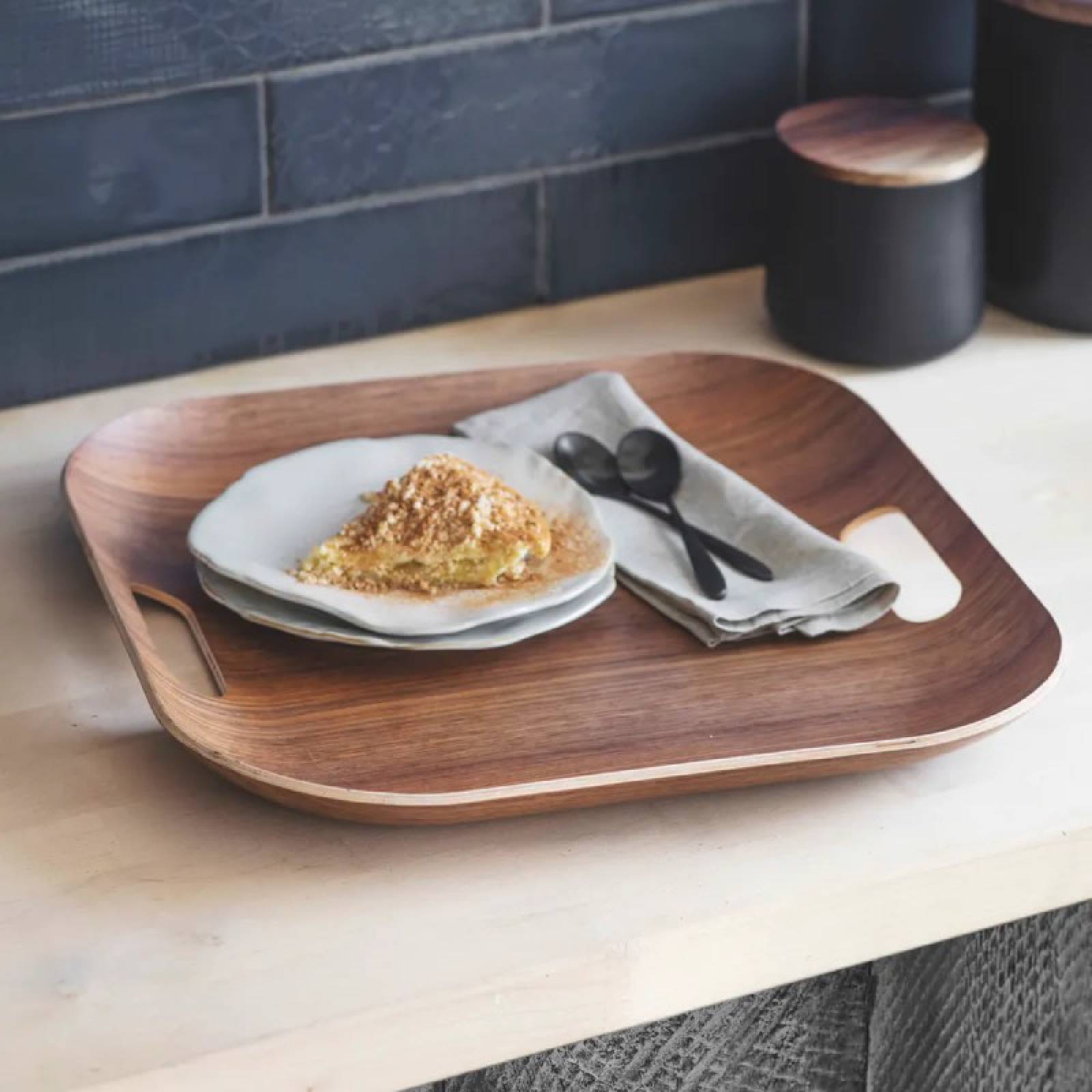Square Wooden Tray With Handles In Walnut