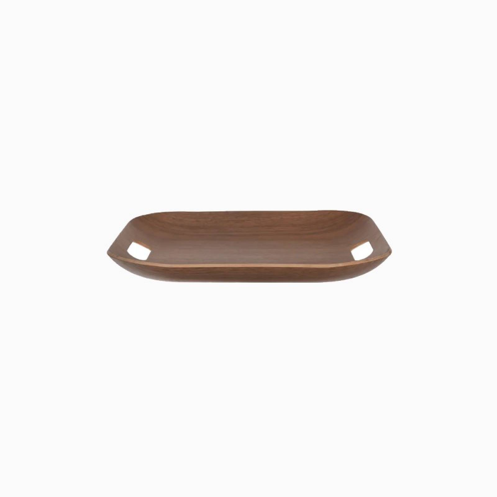 Square Wooden Tray With Handles In Walnut thumbnails