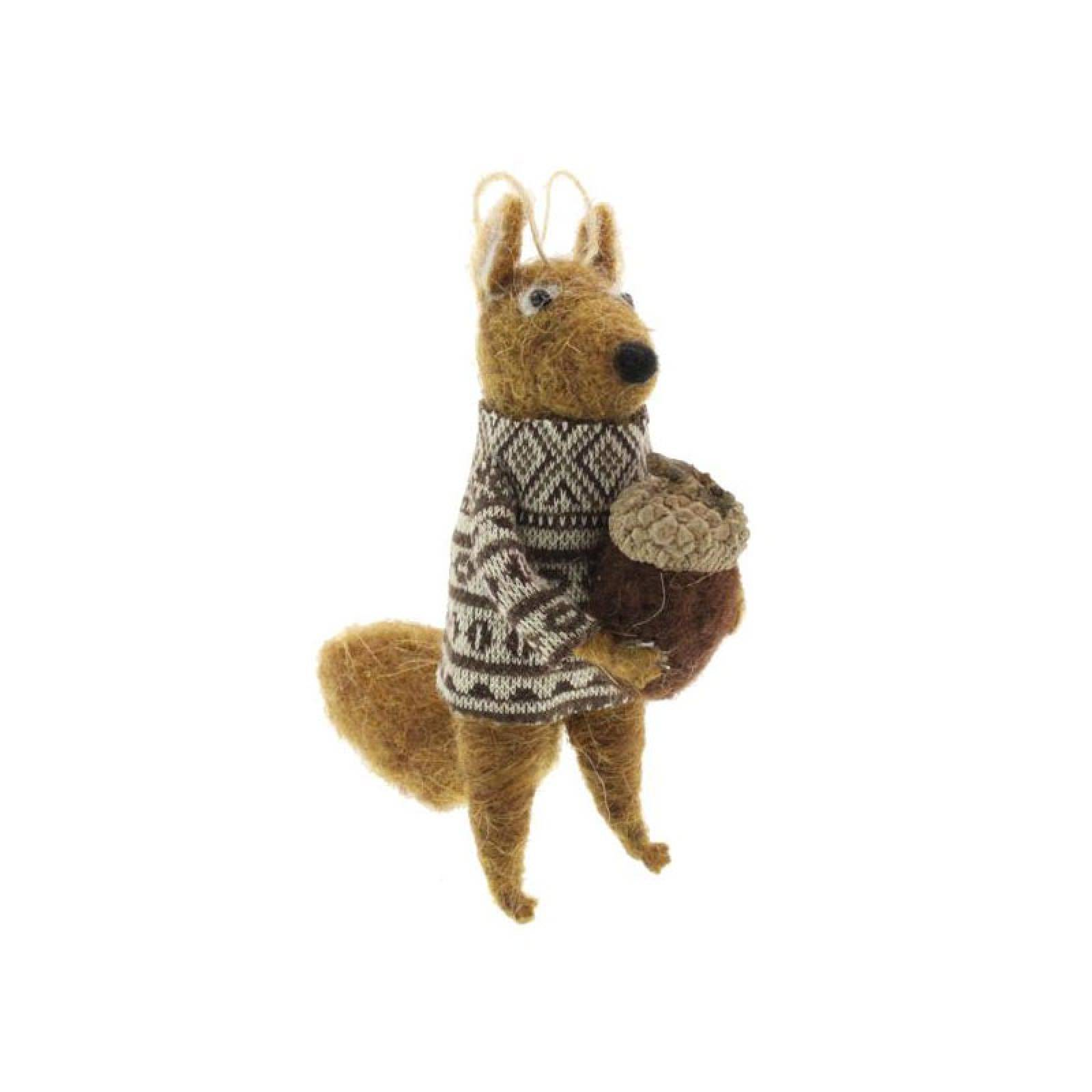 Squirrel With Acorn Felt Hanging Christmas Decoration thumbnails