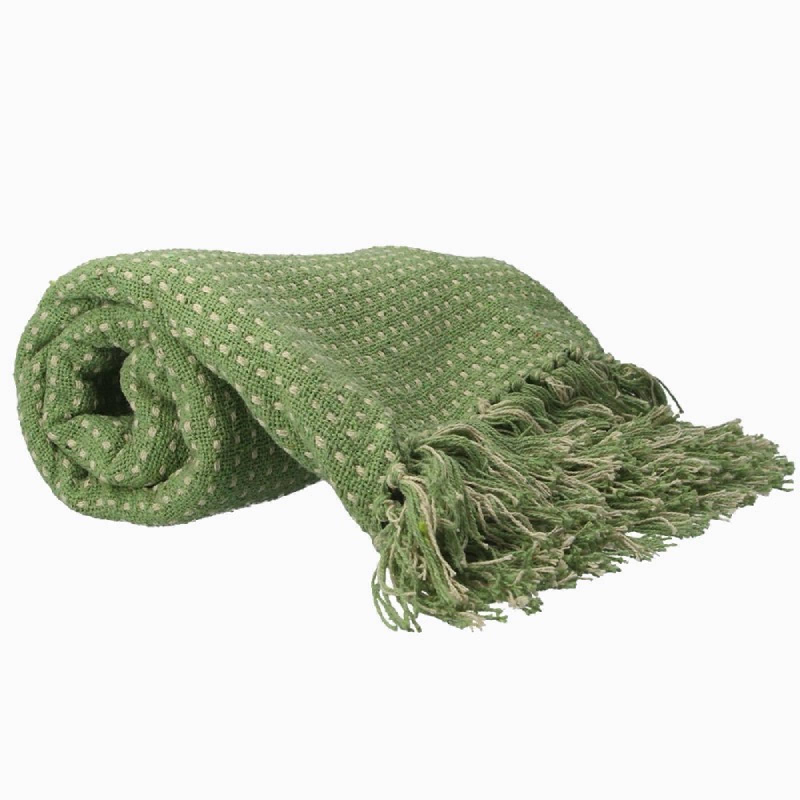 Stab Stitch Cotton Blanket In Light Green