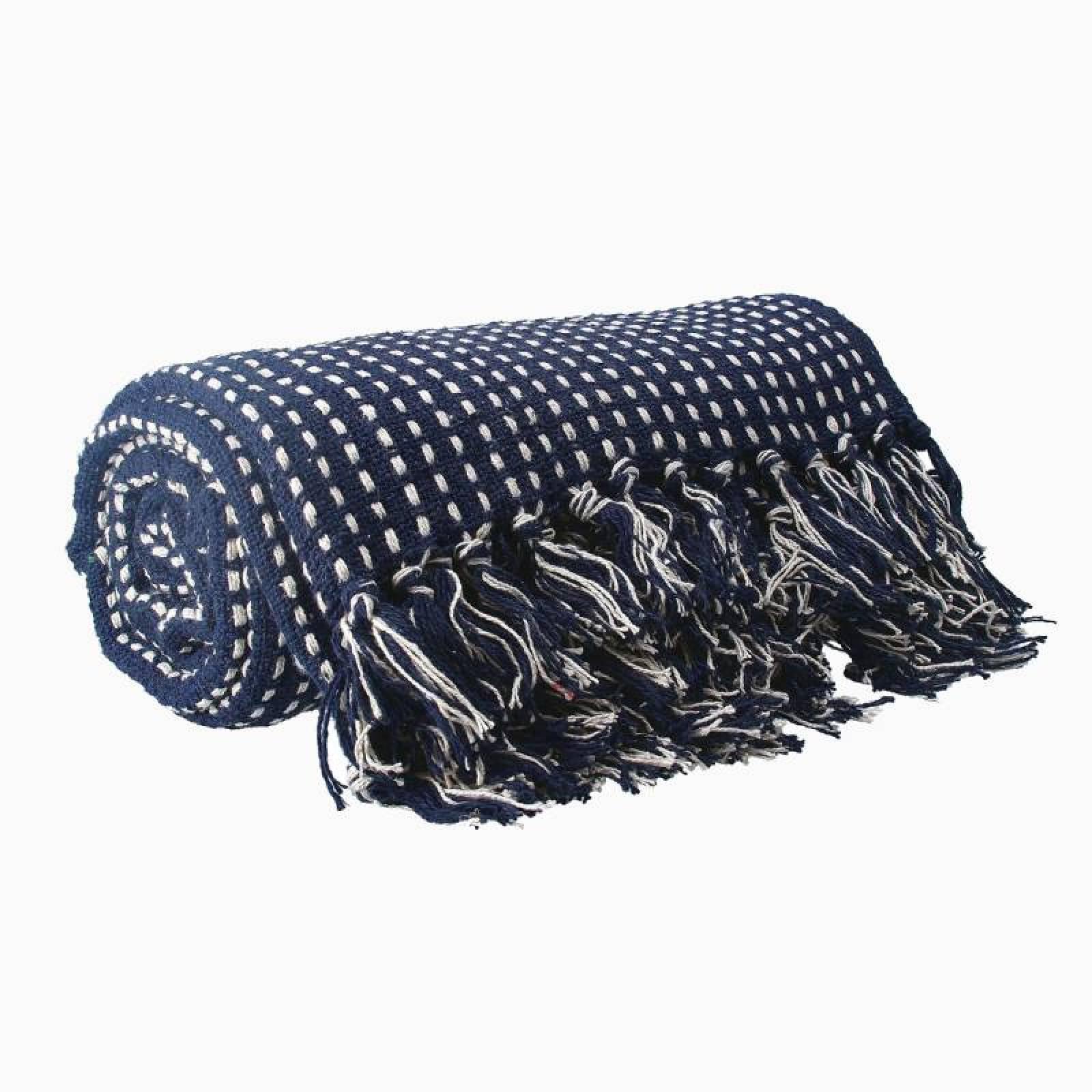 Stab Stitch Cotton Blanket In Navy