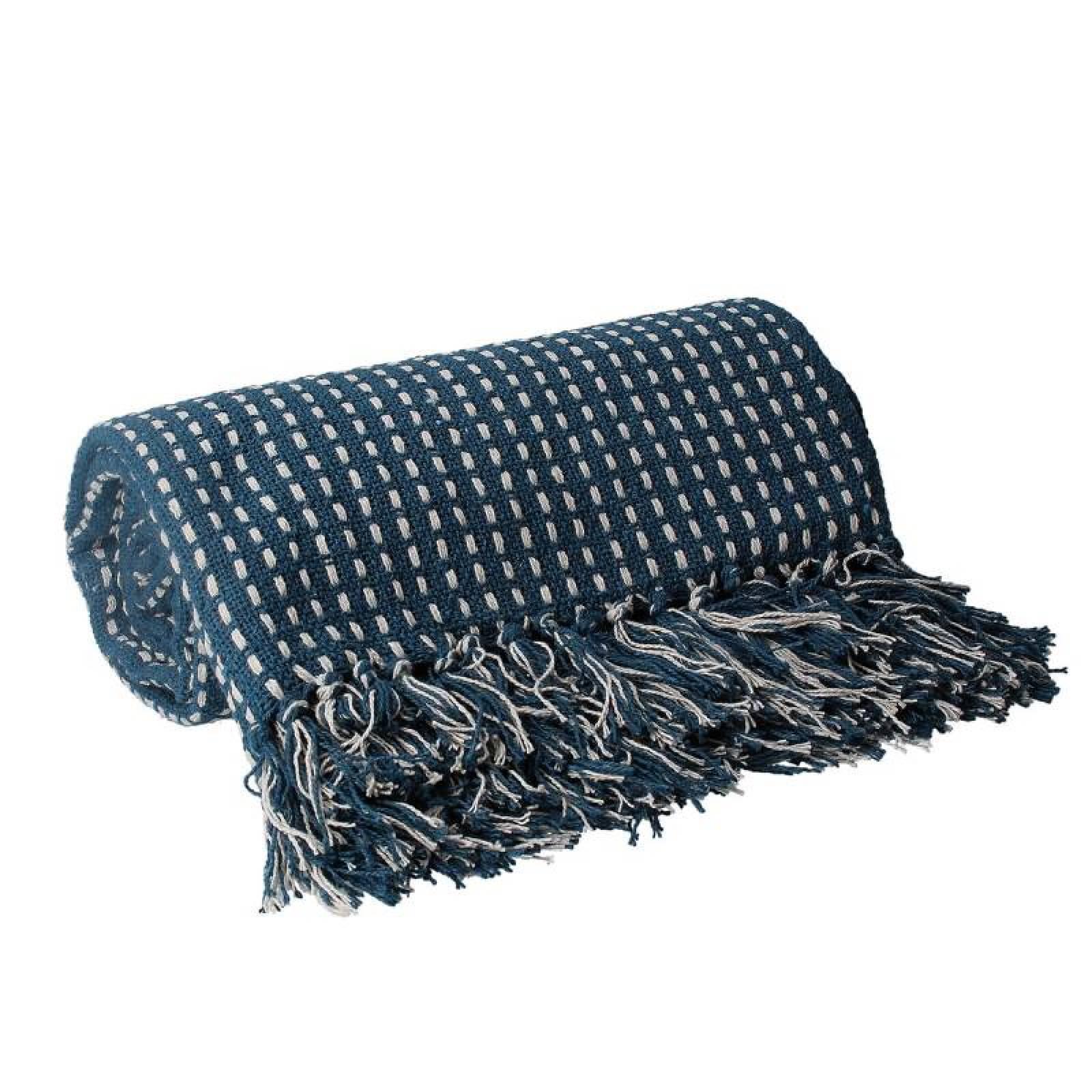 Stab Stitch Cotton Blanket In Teal