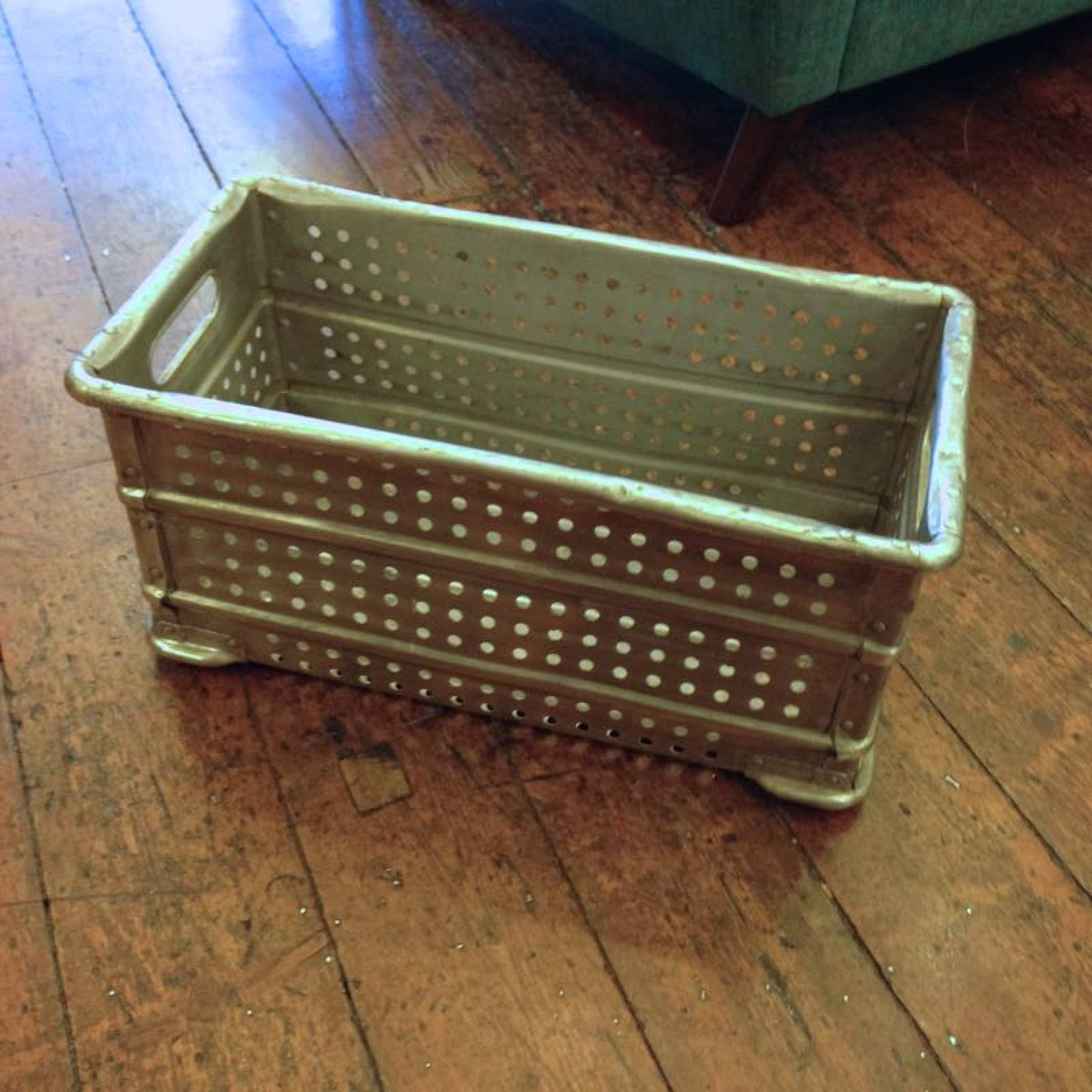 Aluminium Polished Crate with perforated sides from hospital