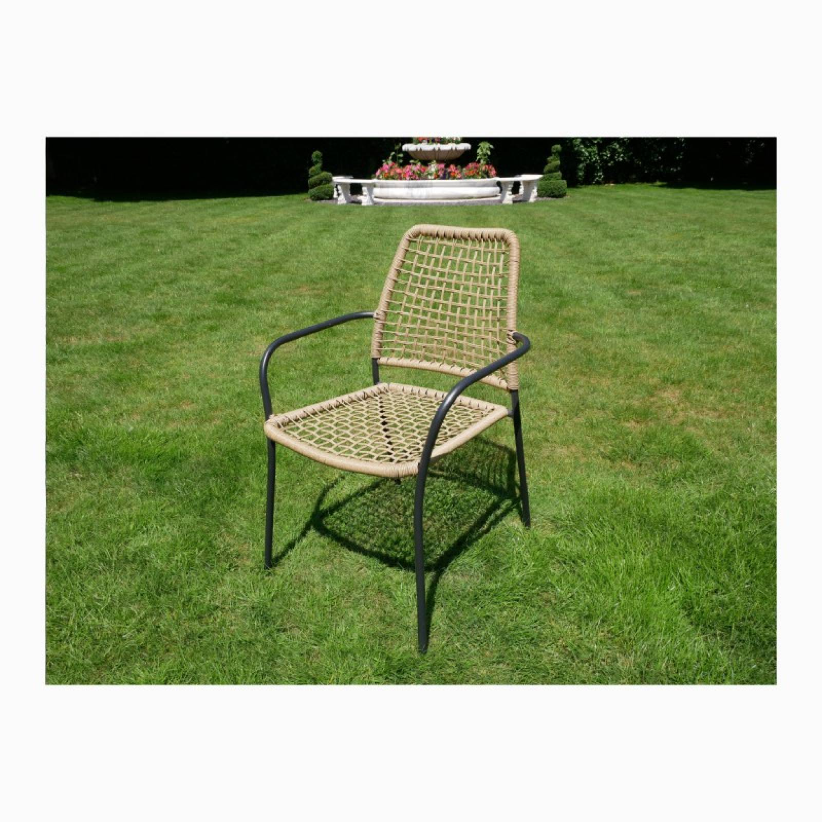 Stacking Metal Garden Chair With Faux Bamboo Caning
