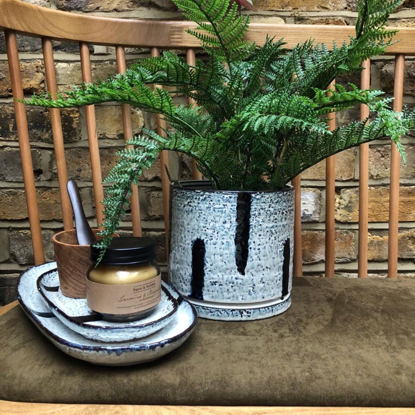 Stoneware Flower Pot Hand Glazed Blue White with Blue Stripes
