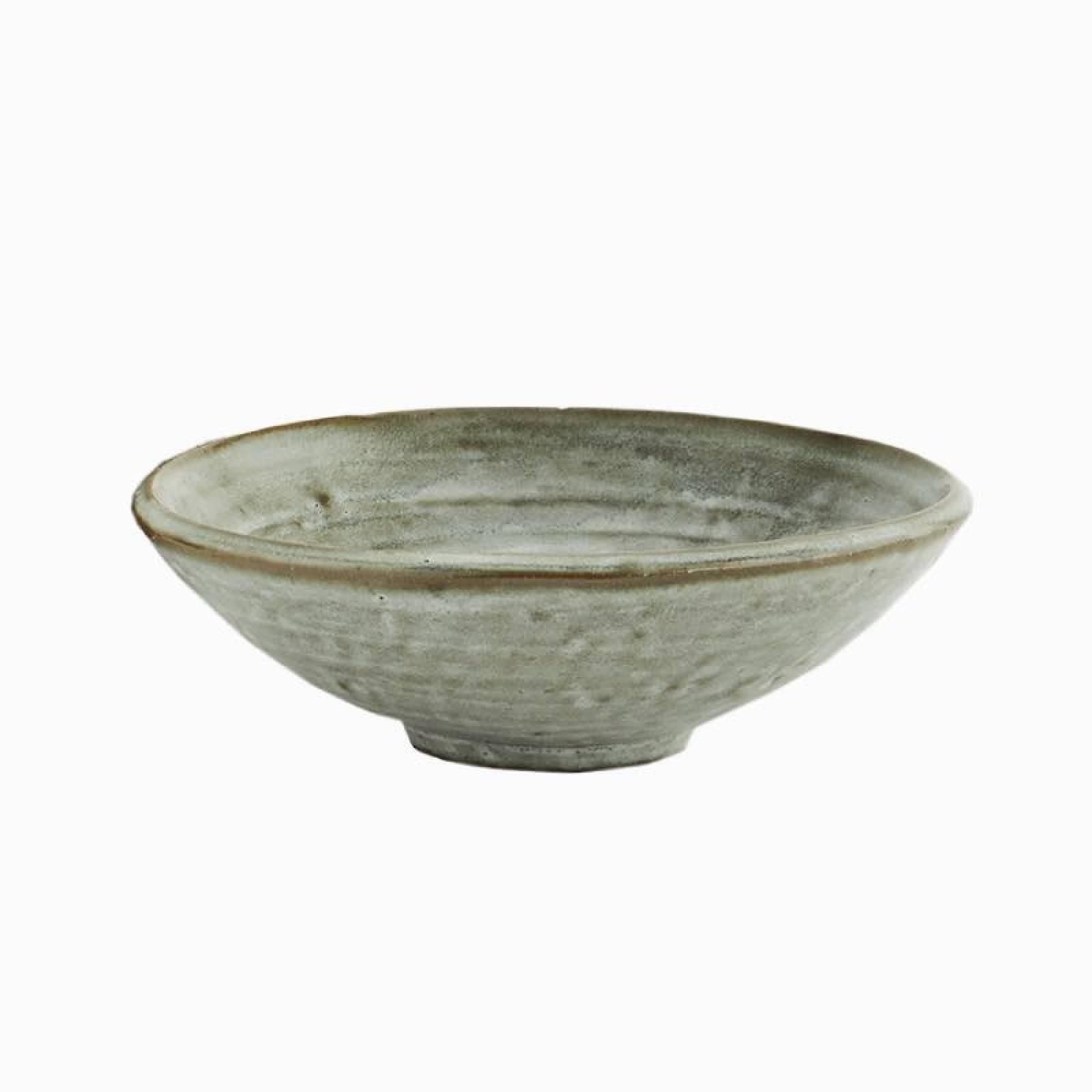 Stoneware Bowl In Green Lichen