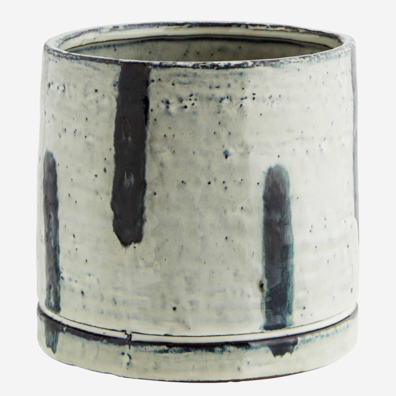 Stoneware Flower Pot Hand Glazed Blue White with Blue Stripes thumbnails