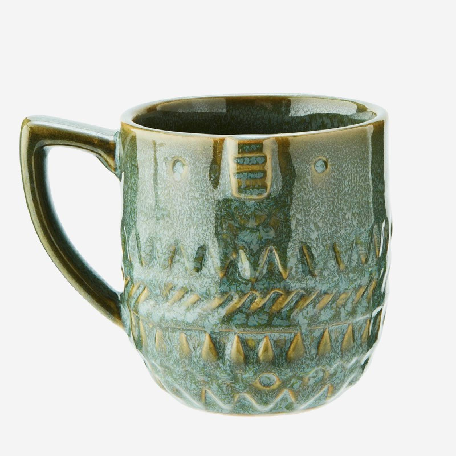 Stoneware Mug With Face Imprint In Green