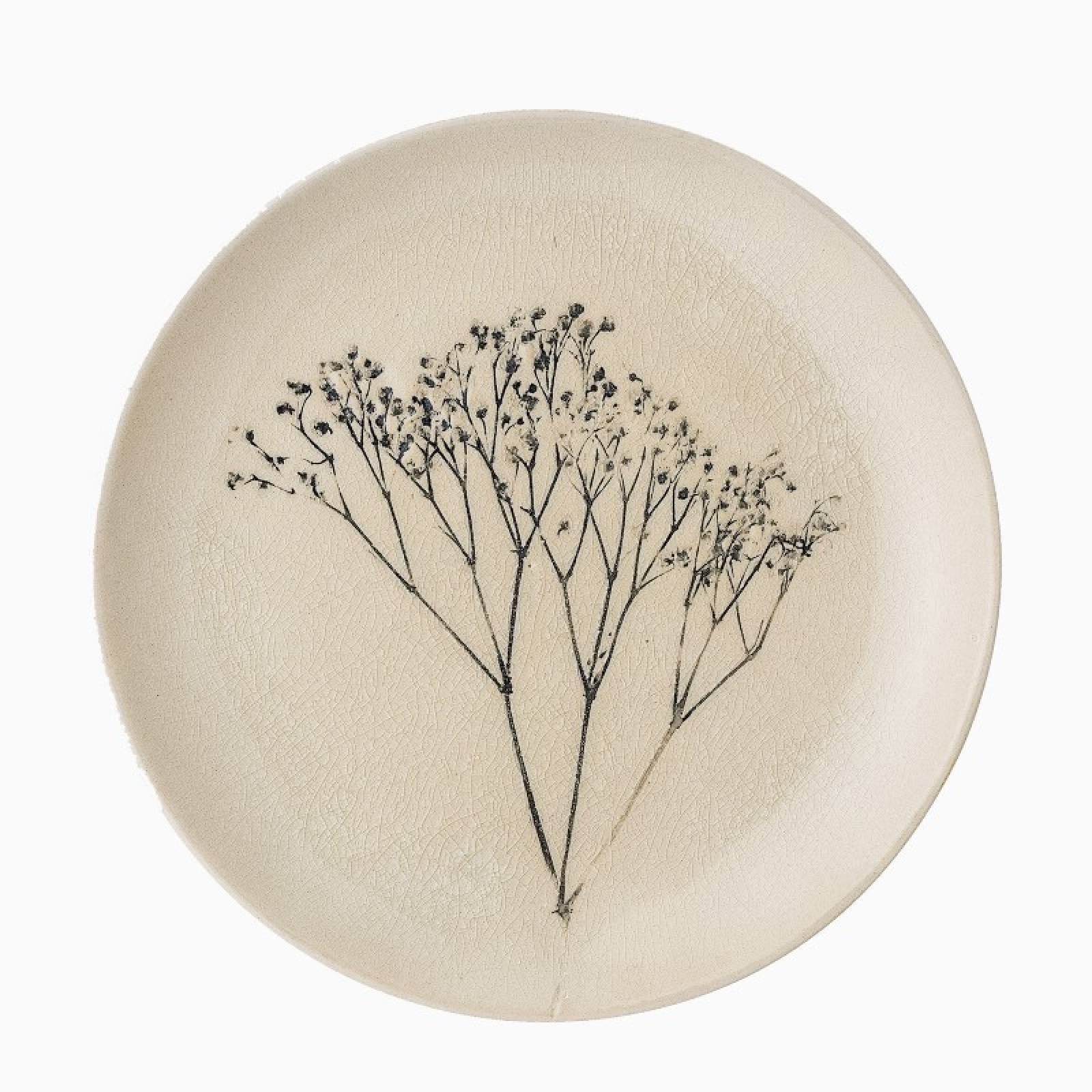 Stoneware Side Plate With Plant Imprint