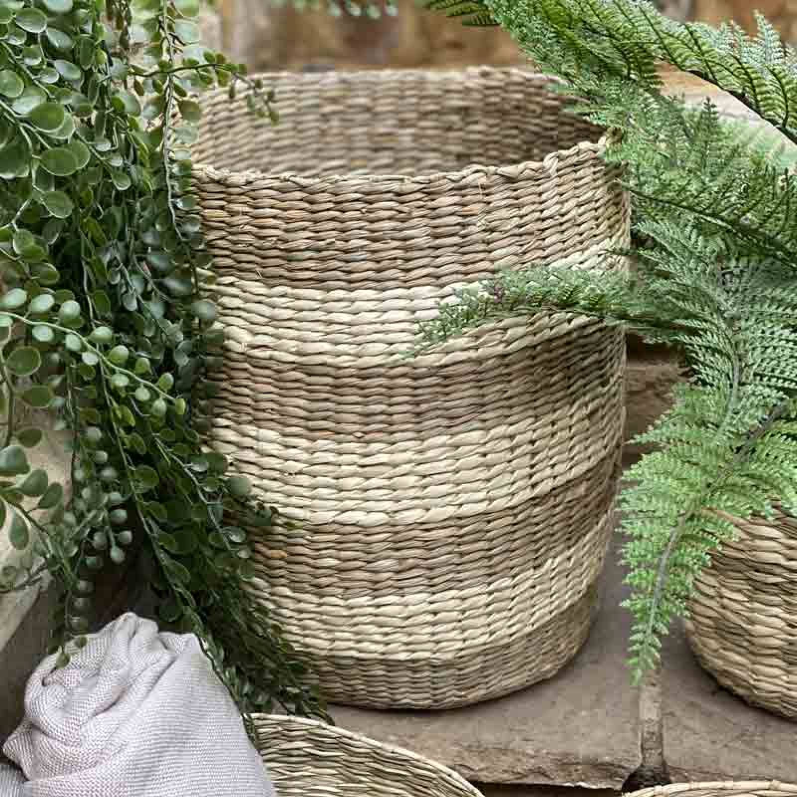 Extra Large Striped Two Tone Striped Basket H:30cm