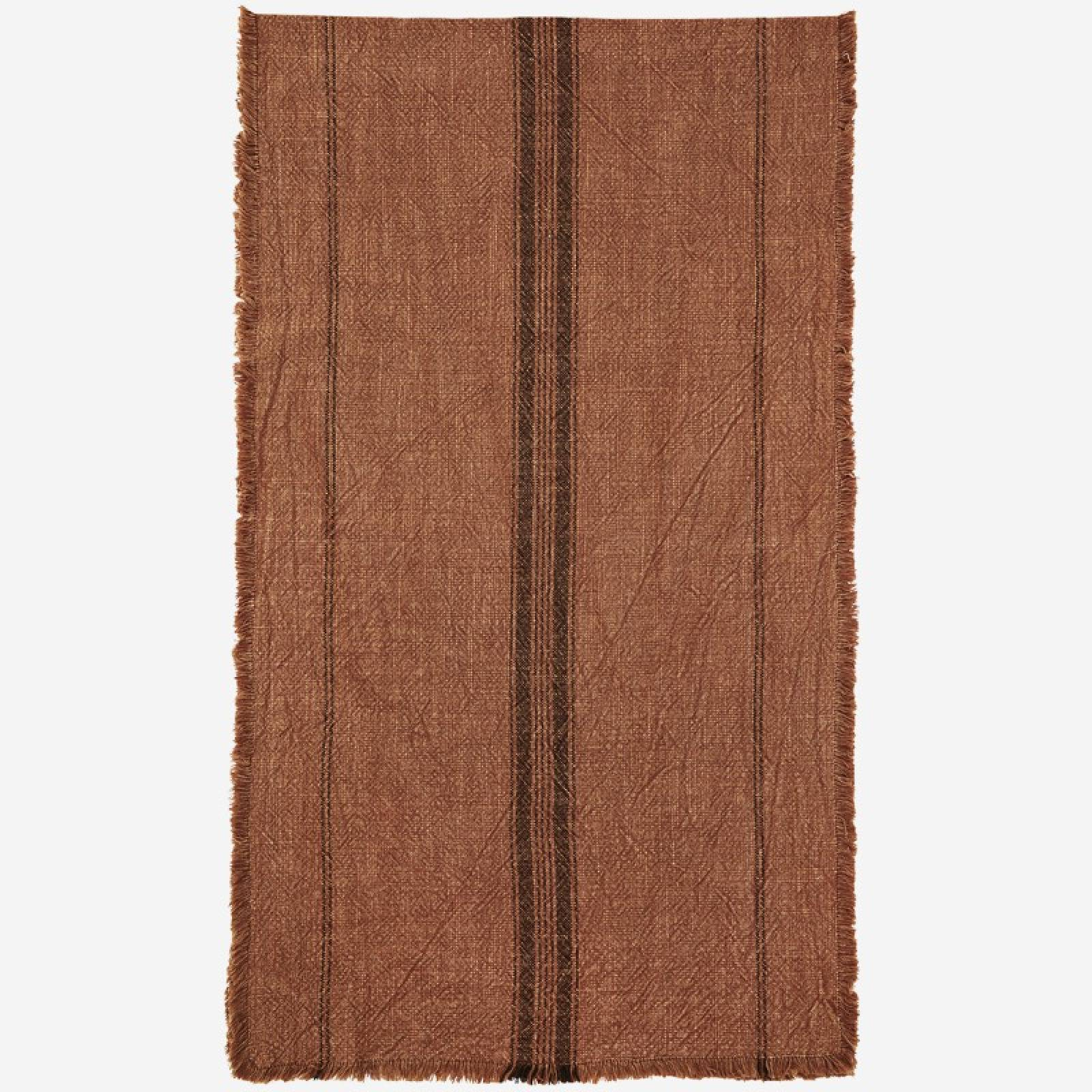 Striped Cotton Table Runner With Fringing in Burnt Orange