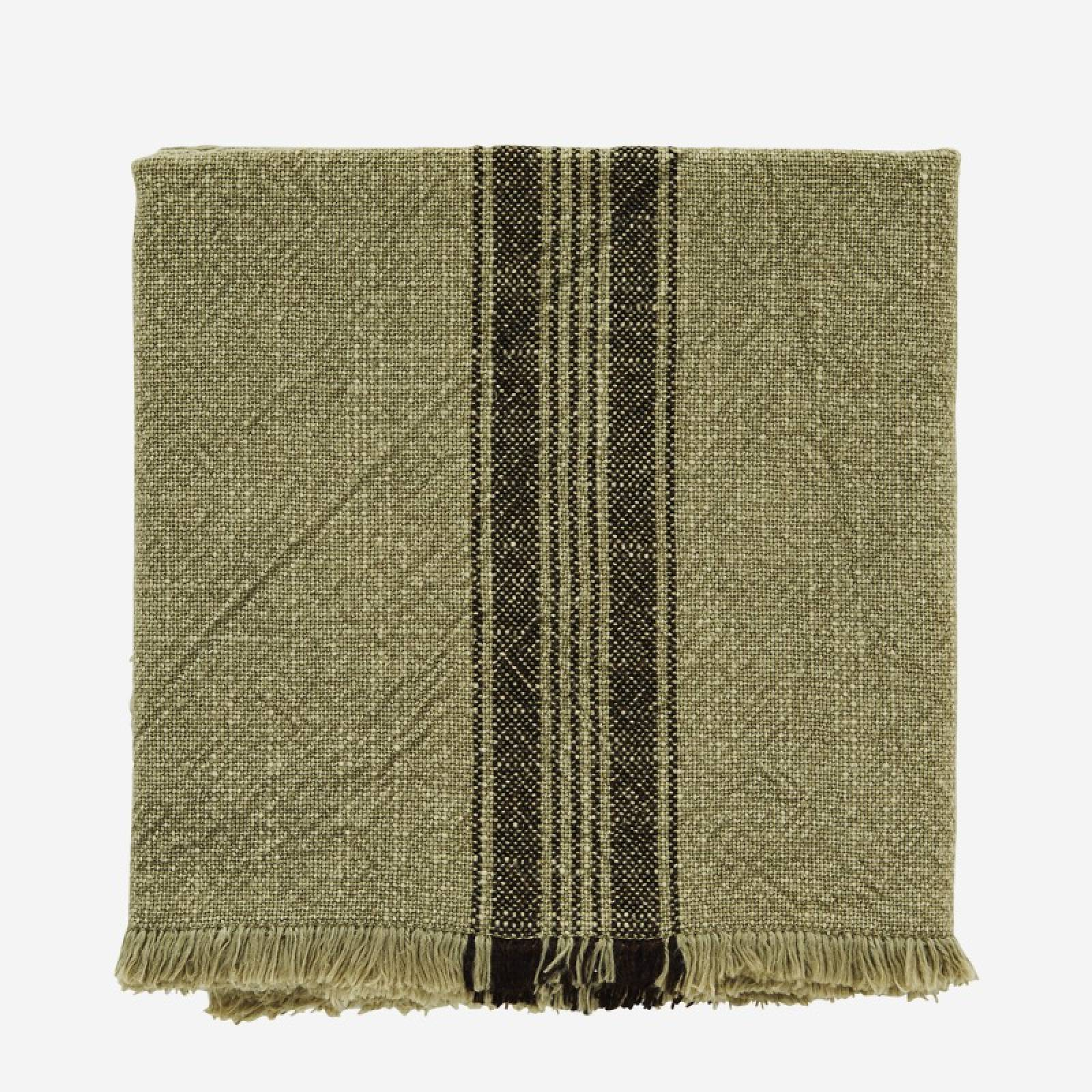 Striped Cotton Tea Towel With Fringing In Khaki