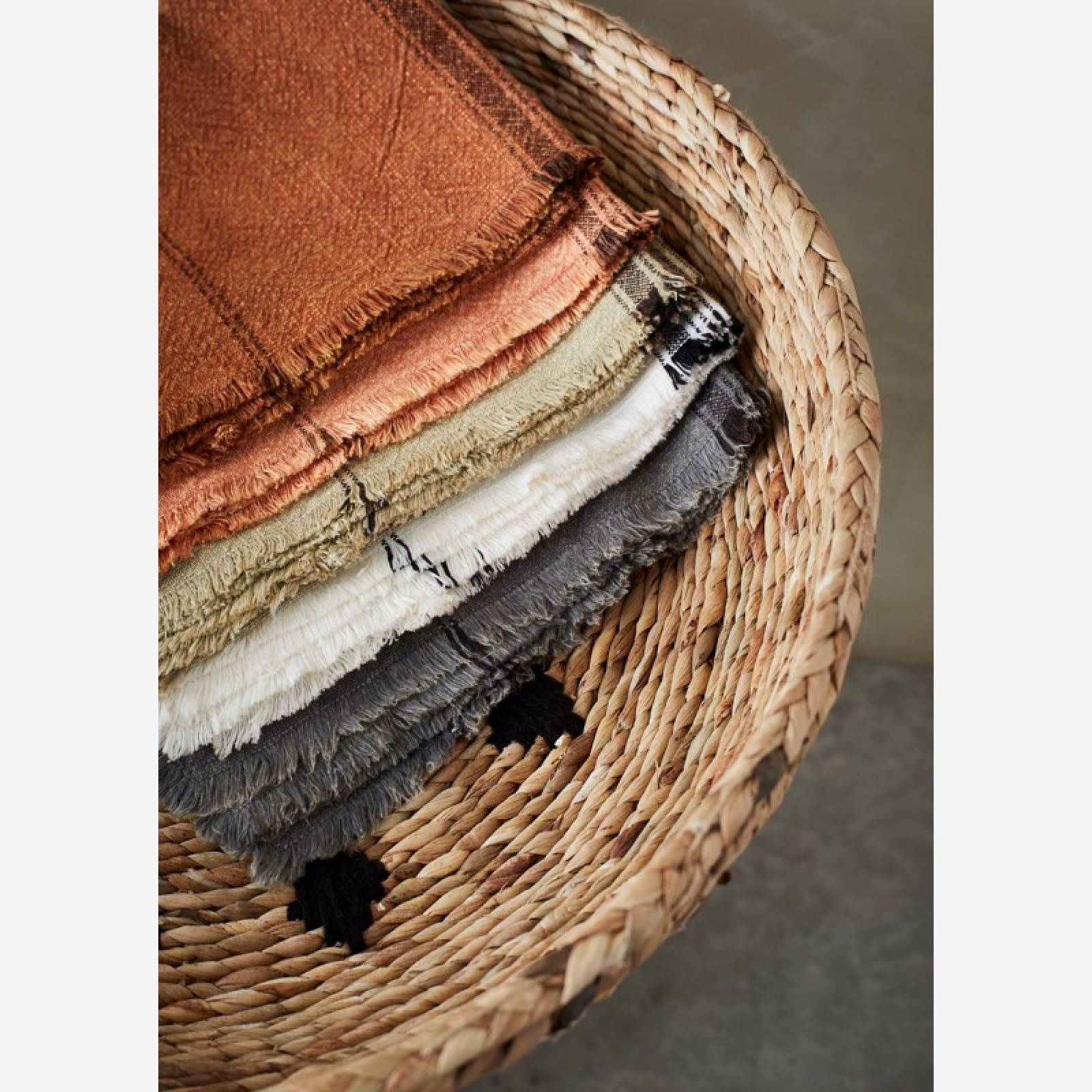 Striped Cotton Tea Towel With Fringing In Khaki thumbnails