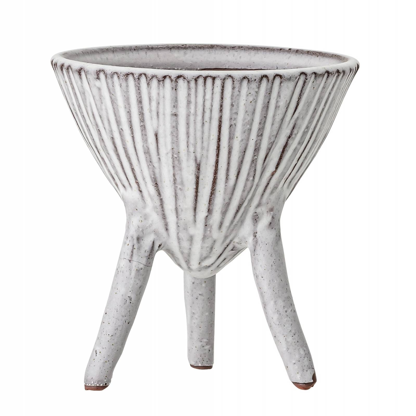 Striped White Terracotta Plant Pot On Tripod Legs