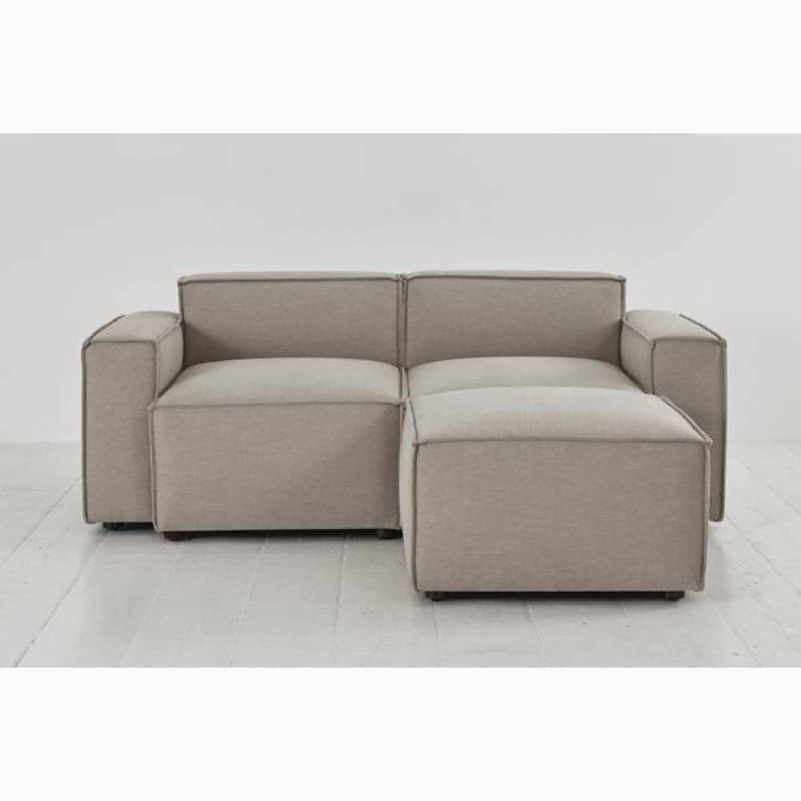 Swyft - Model 03 - 2 Seater Sofa - Right Chaise - Linen Pumice