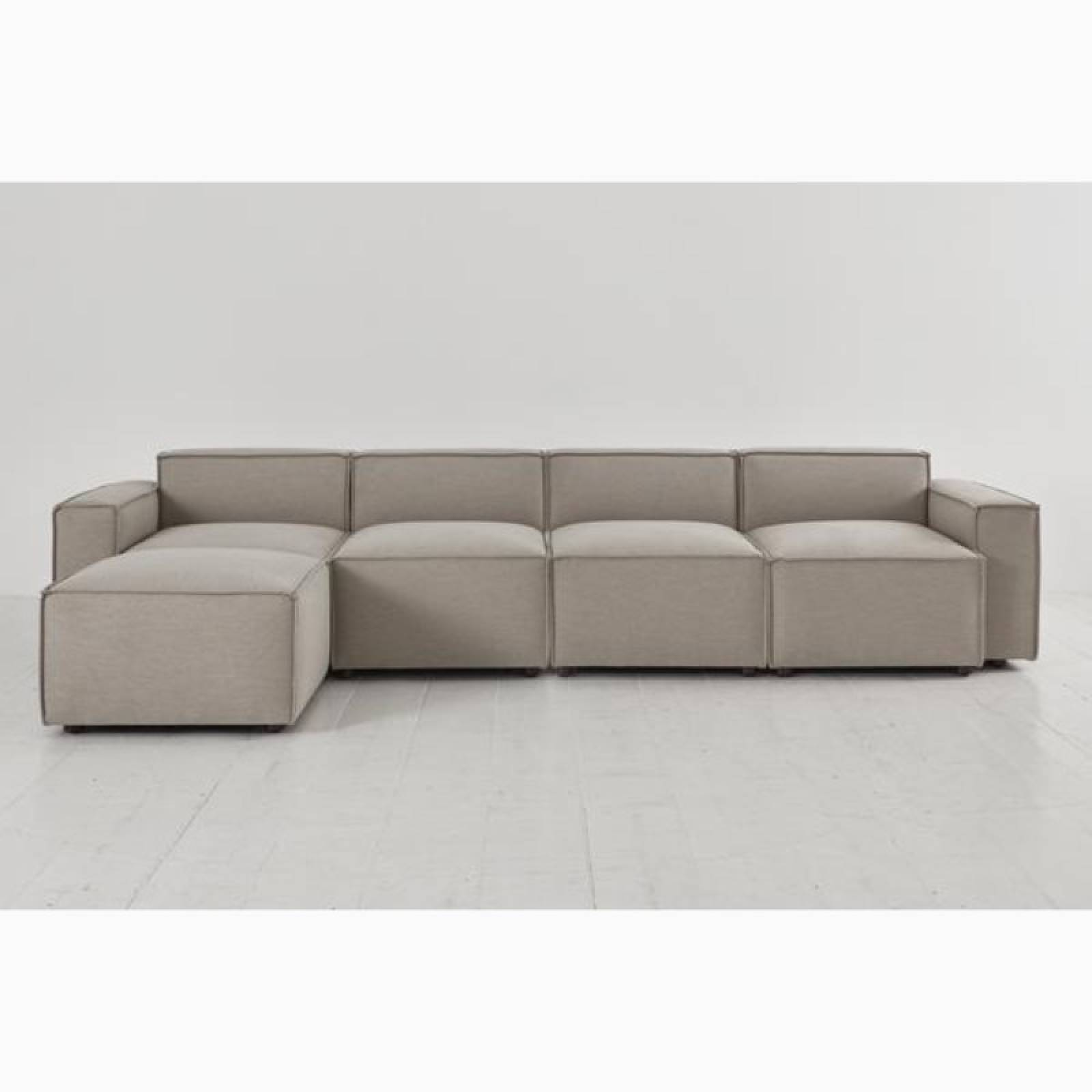 Swyft Model 03 - 4 Seater Sofa Left Chaise - Linen Pumice