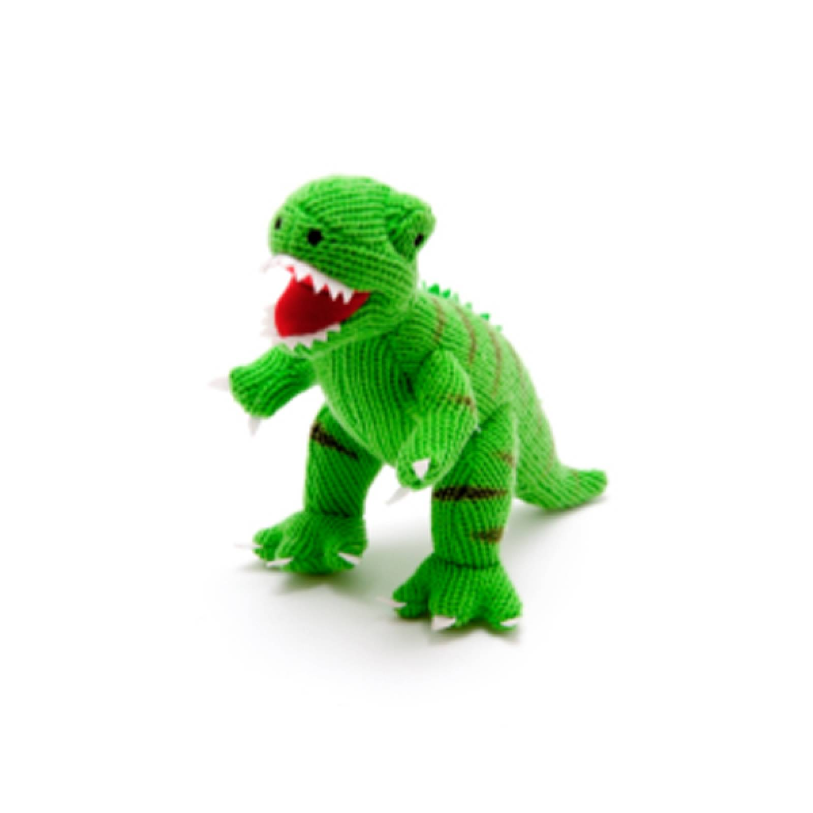 T Rex Dinosaur Knitted Rattle Soft Toy
