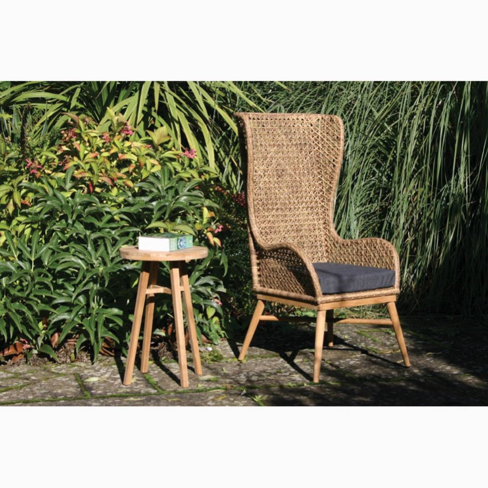Tall High Back Woven Armchair With Seat Pad thumbnails