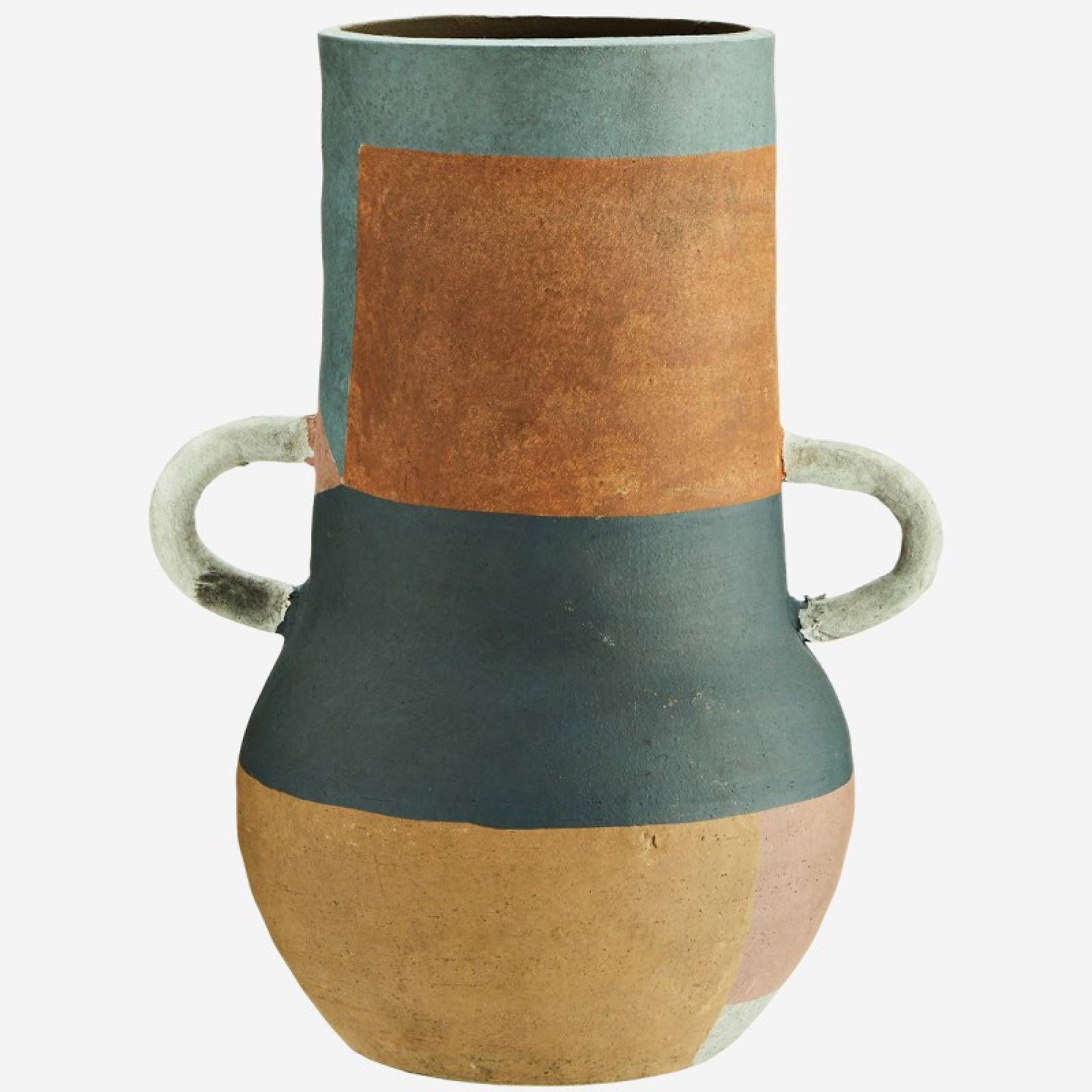 Tall Multi Coloured Terracotta Vase With Small White Handles