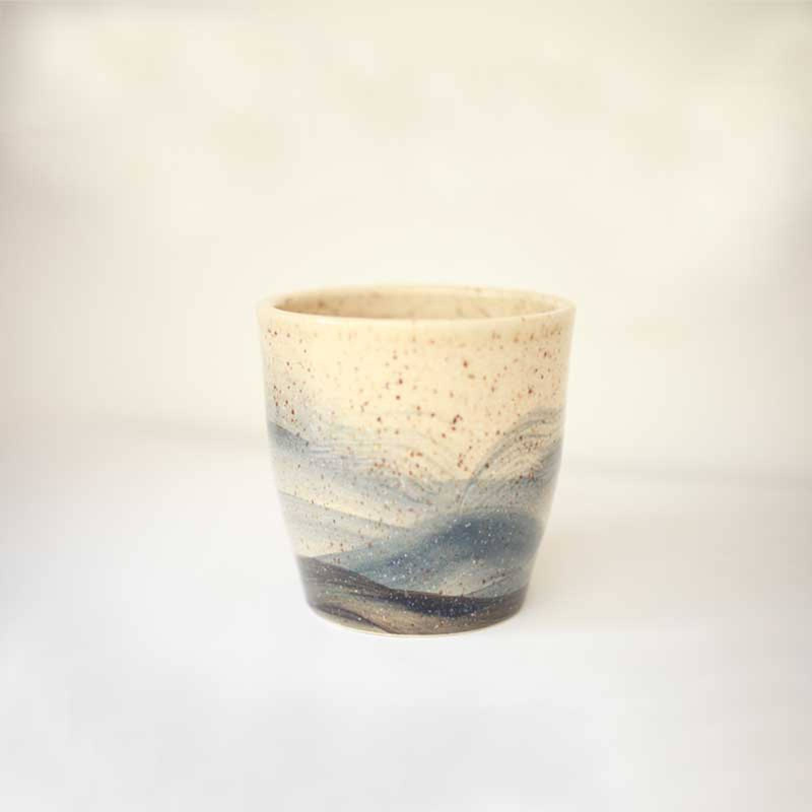 Tapered Hand Painted Blue & Beige Speckled Wave Plant Pot thumbnails