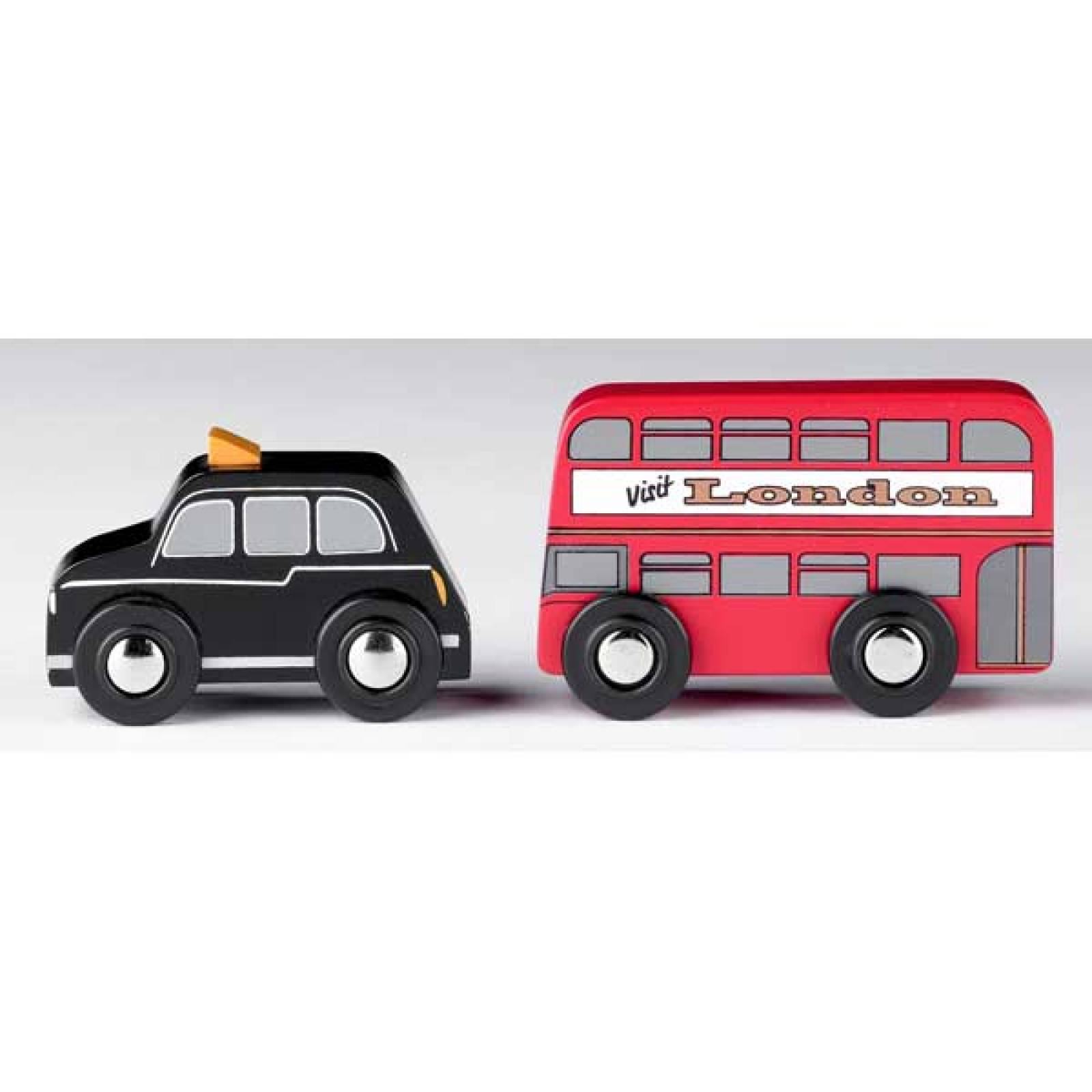 Small Wooden Double Decker Bus And Black Cab Pack 3+