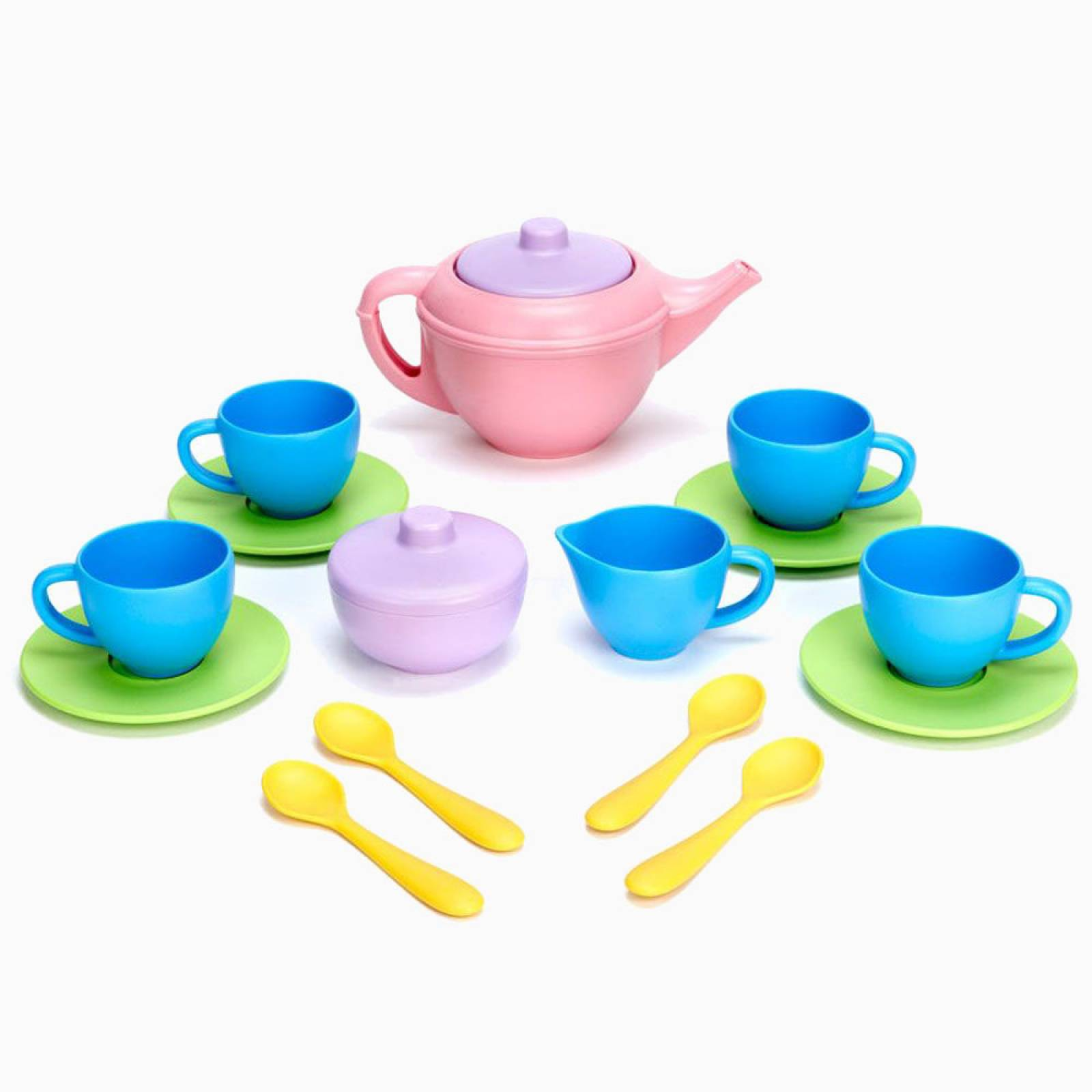 Tea Set With Pink Teapot By Green Toys 17 Pieces 2+