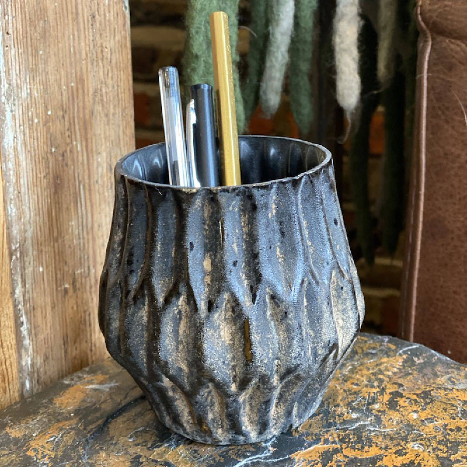 Small Textured Glass Vase In Brown H:10cm