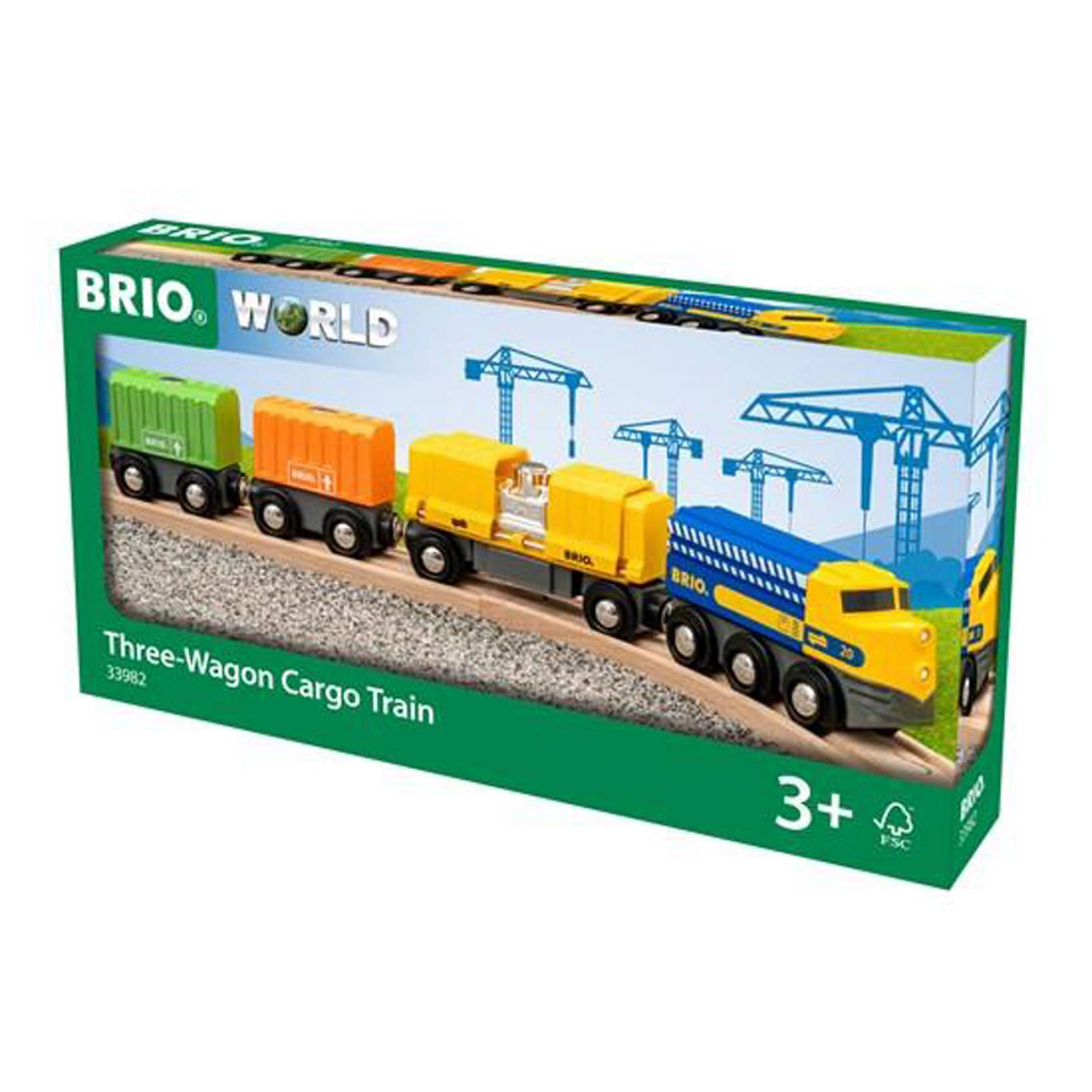 Three-Wagon Cargo Train BRIO Wooden Railway Age 3+