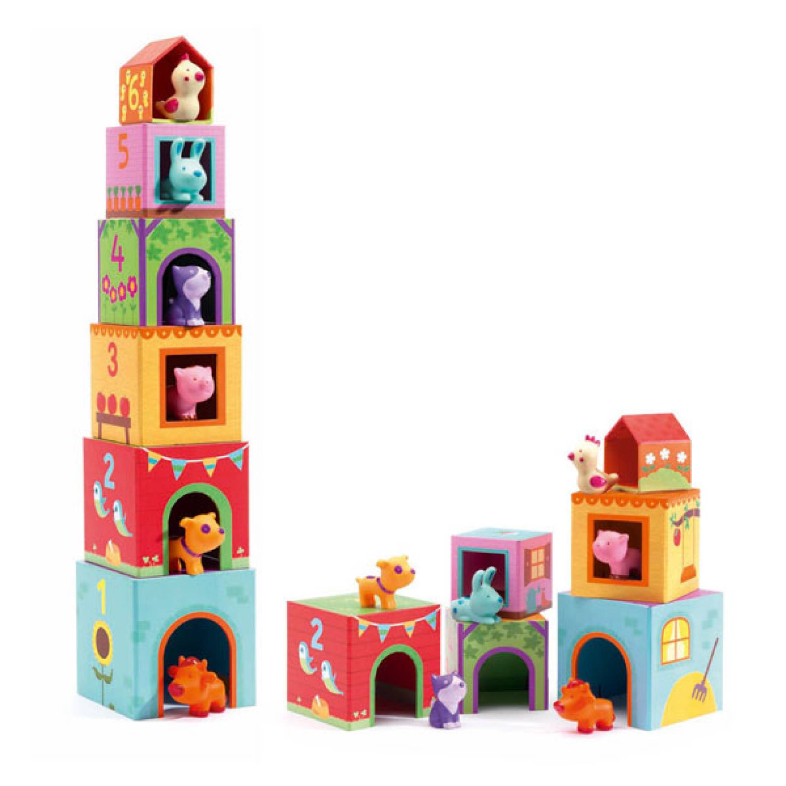 Topanifarm Cubes and Animals Stacking Game Djeco 18m+
