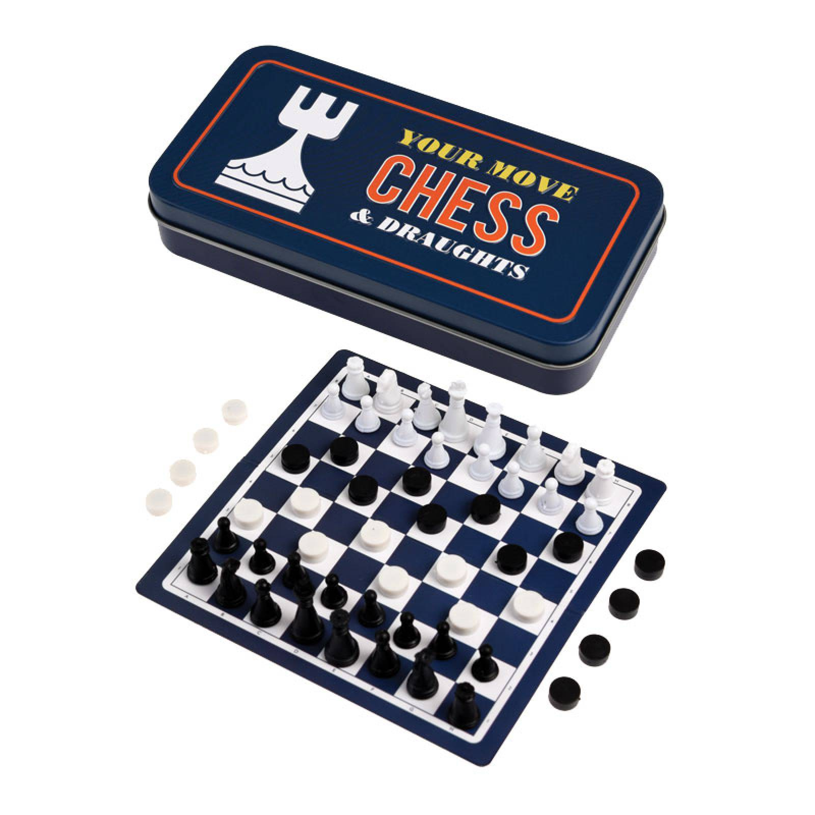 Travel Chess & Draughts Game In Tin