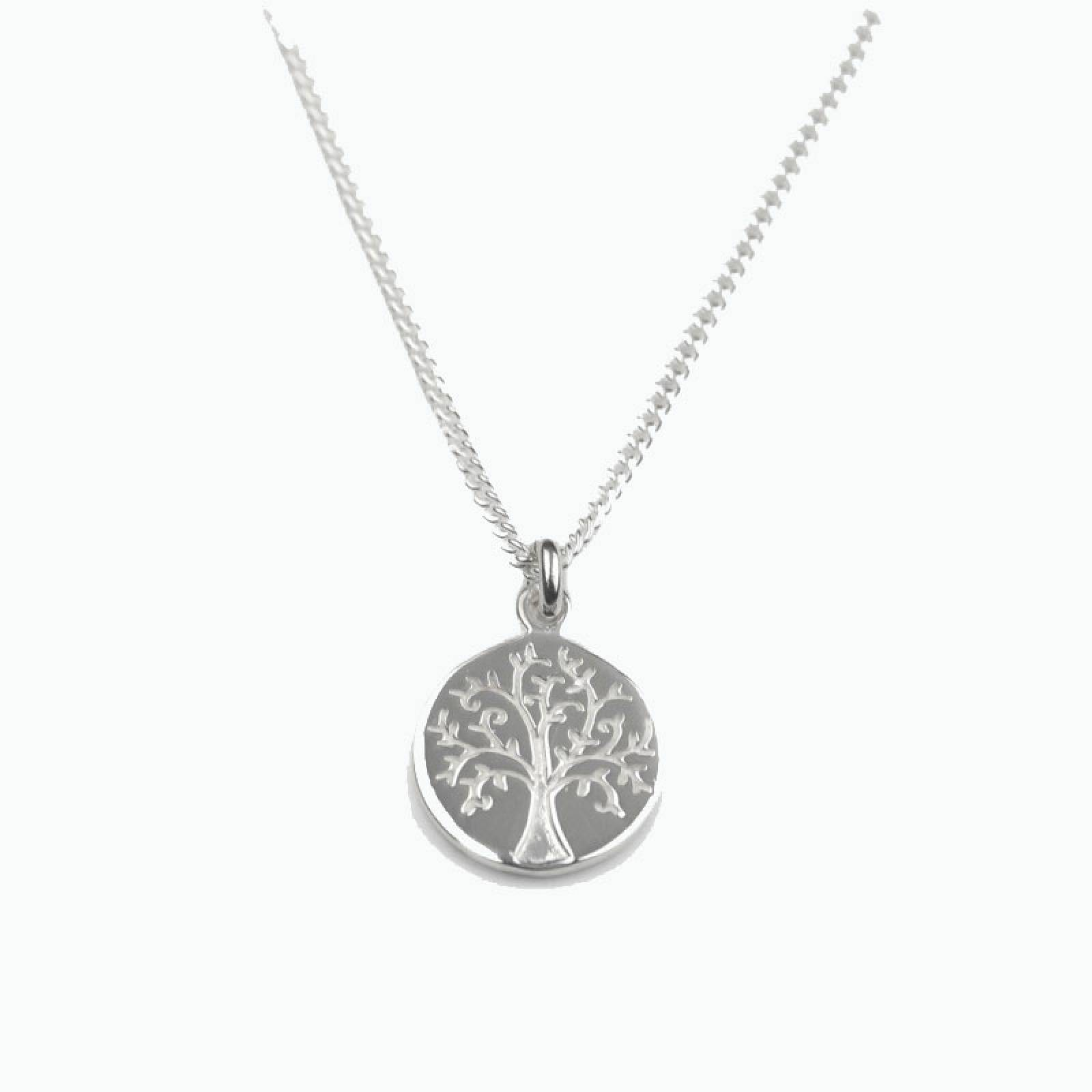 Silver Tree Of Life Disc Necklace