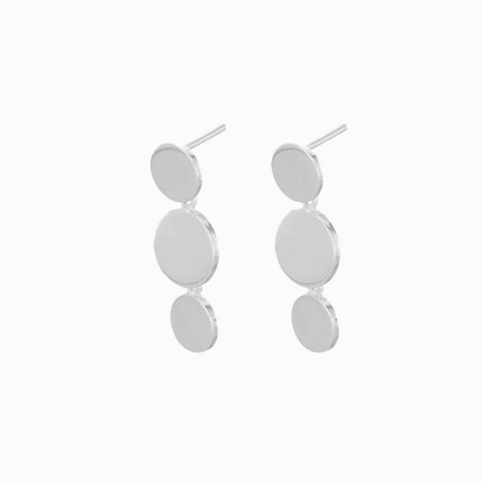 Triple Sheen Stud Earrings In Silver By Pernille Corydon