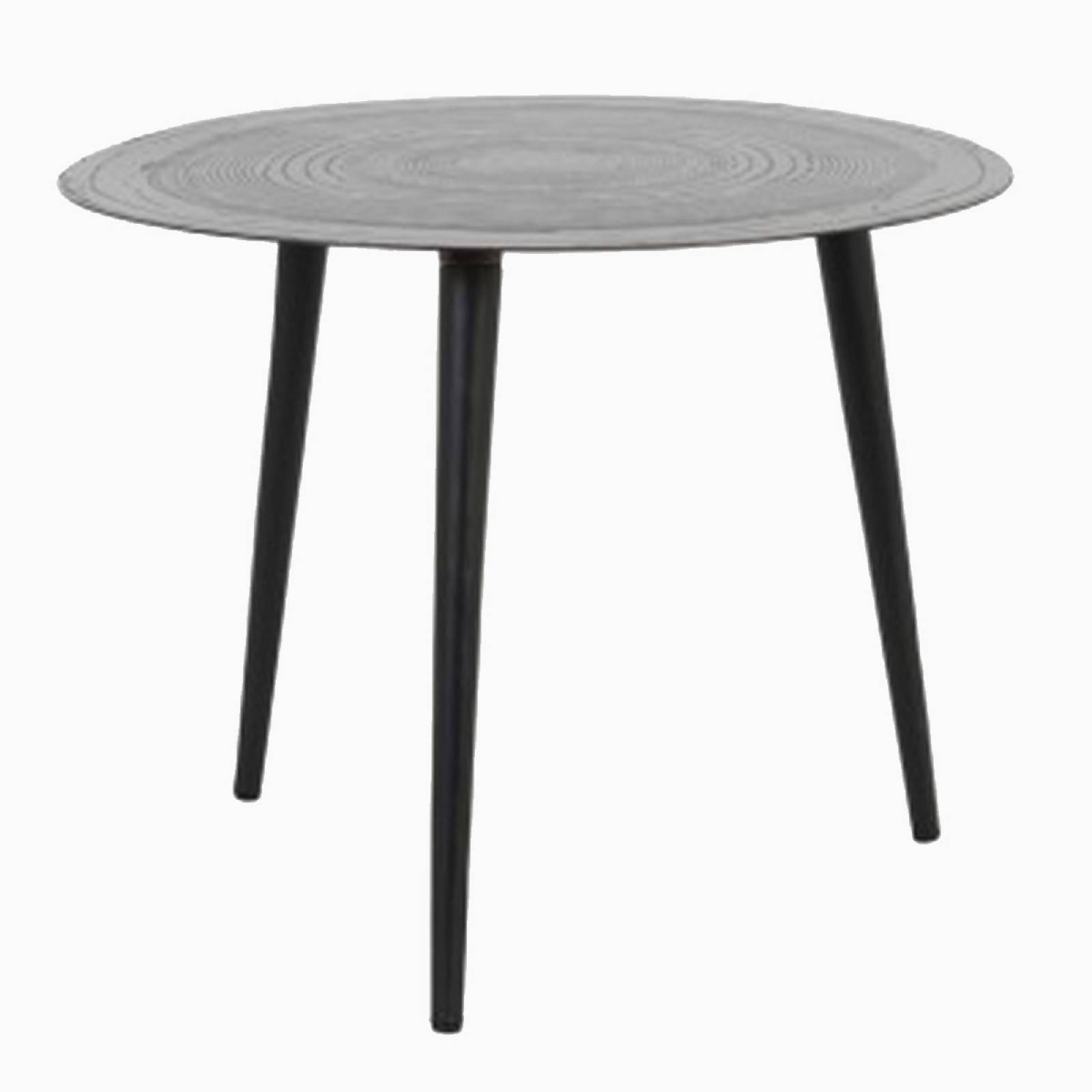 Trunk Round Metal Table Matted Black 50x39cm