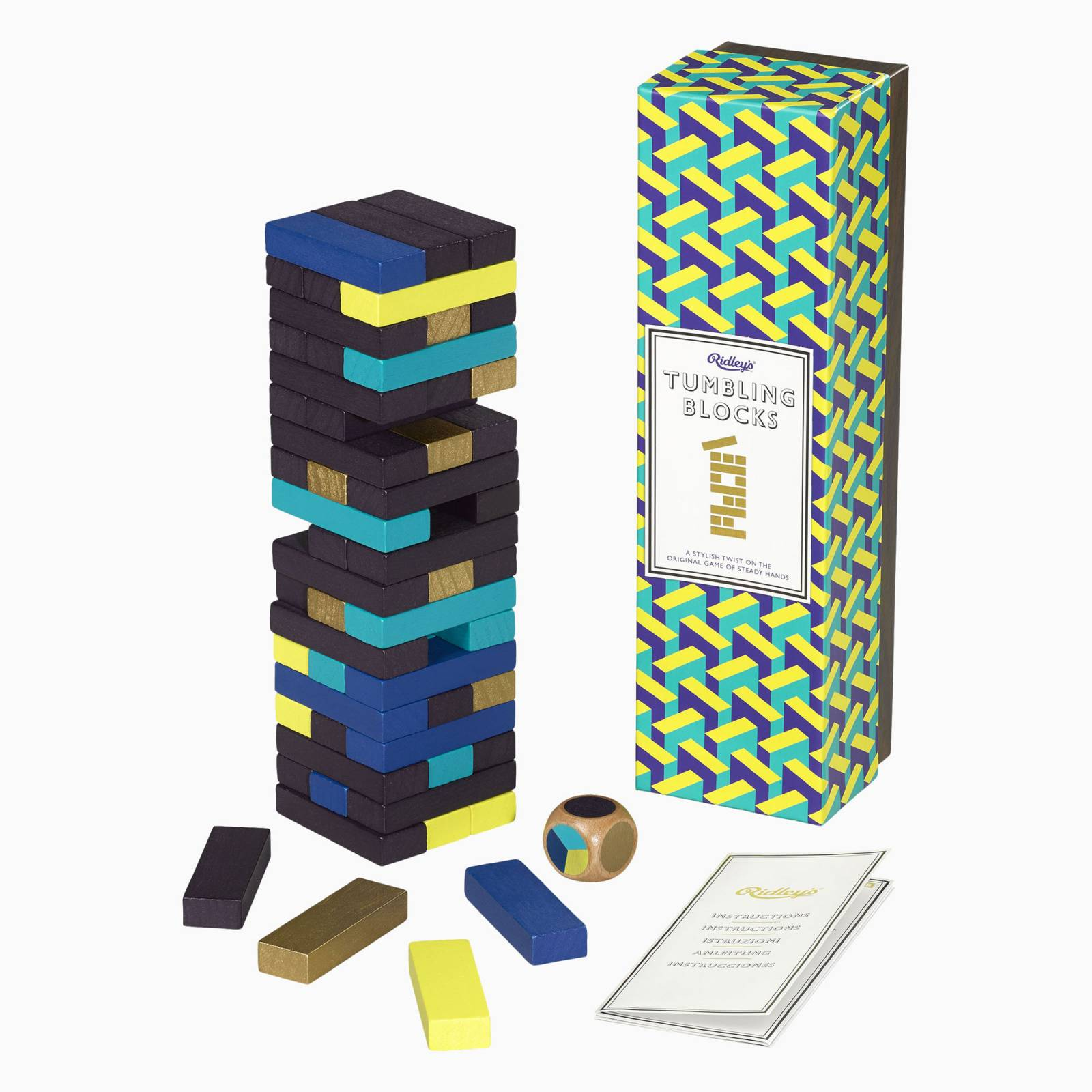 Tumbling Blocks With Dice In Retro Packaging