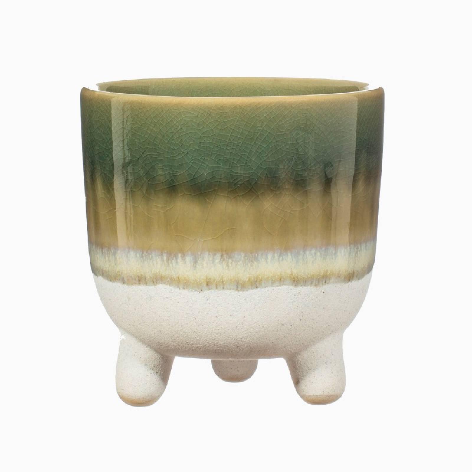 Two Tone Dip Glazed Stoneware Plant Pot In Green thumbnails
