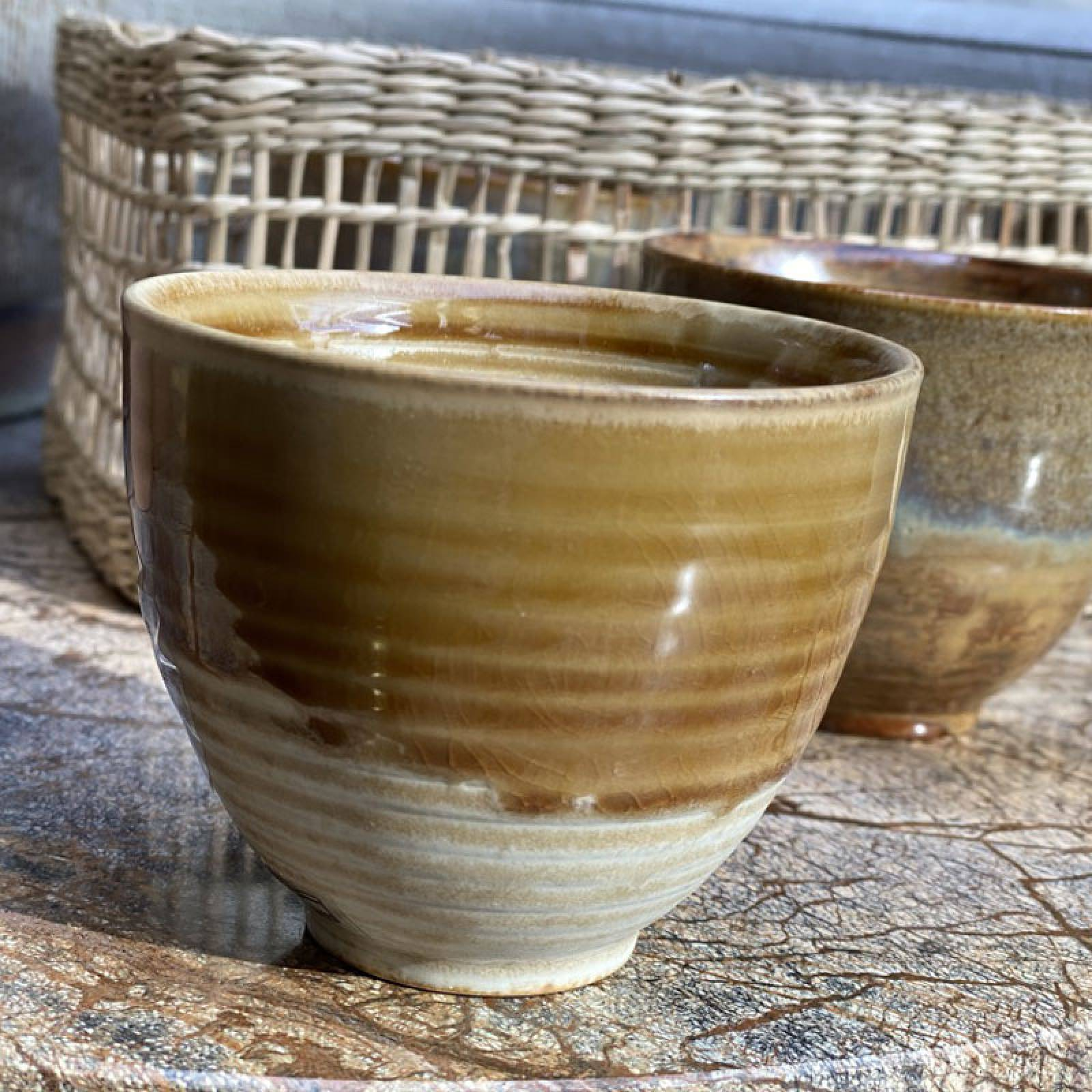 Large Brown Two Tone Stoneware Cup thumbnails