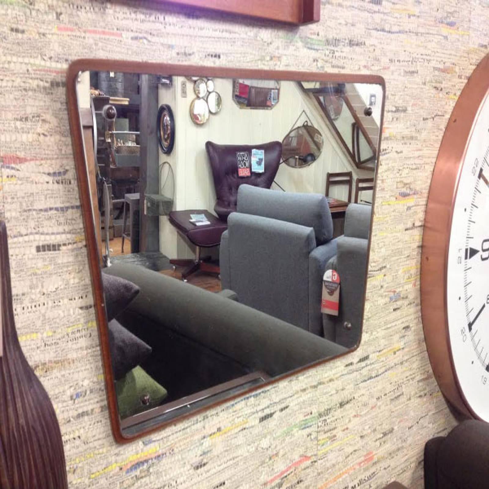 Teak Framed Mirror Surface Mounted Rectangular