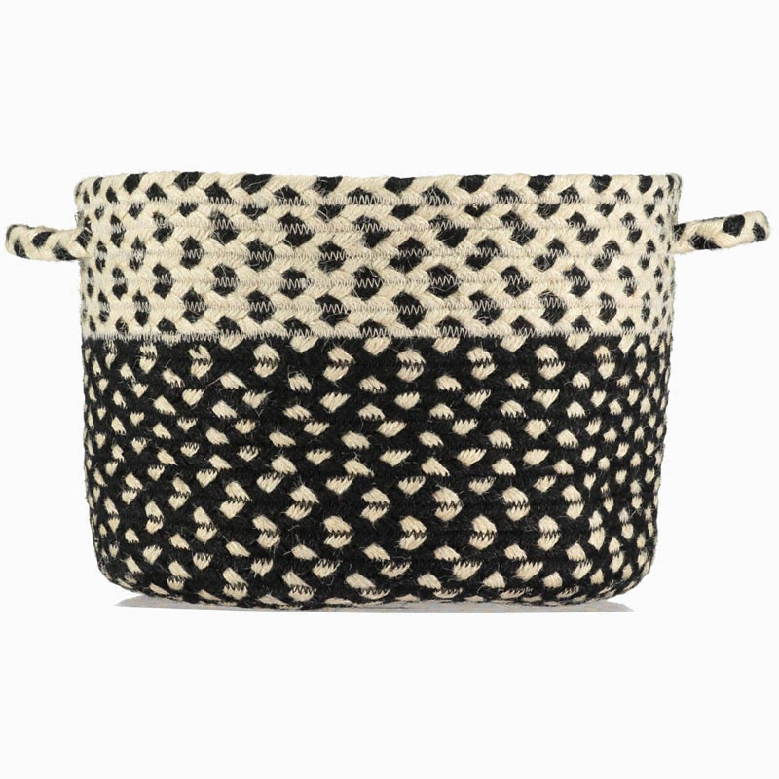 Black And White Small Two Tone  Woven Basket With Handles 23x18