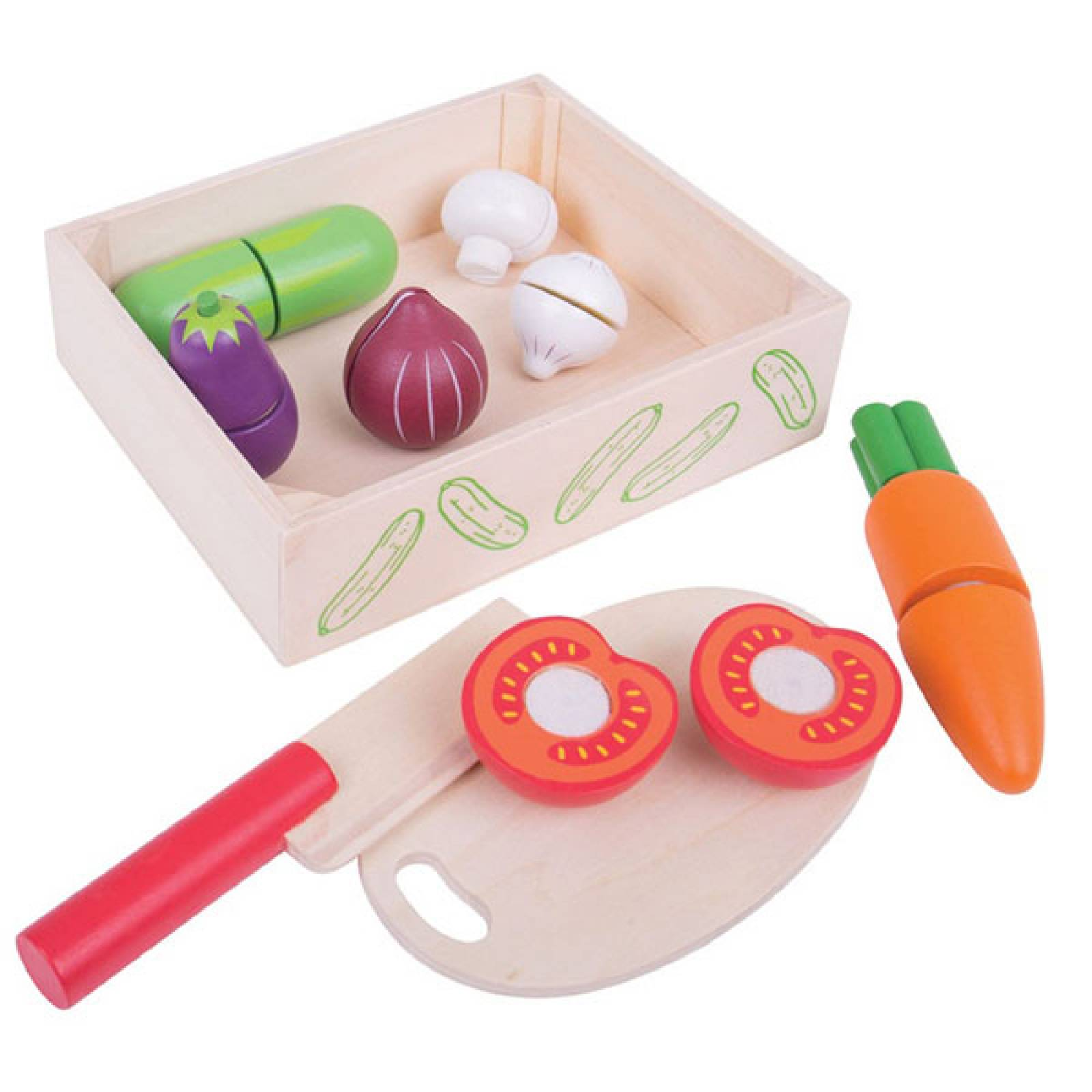 Cutting Vegetables Wooden Food In Wooden Box