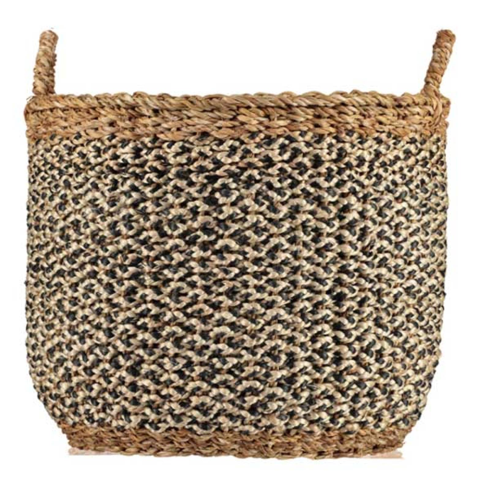Village Basket Black And White With Natural Handles 46x40cm
