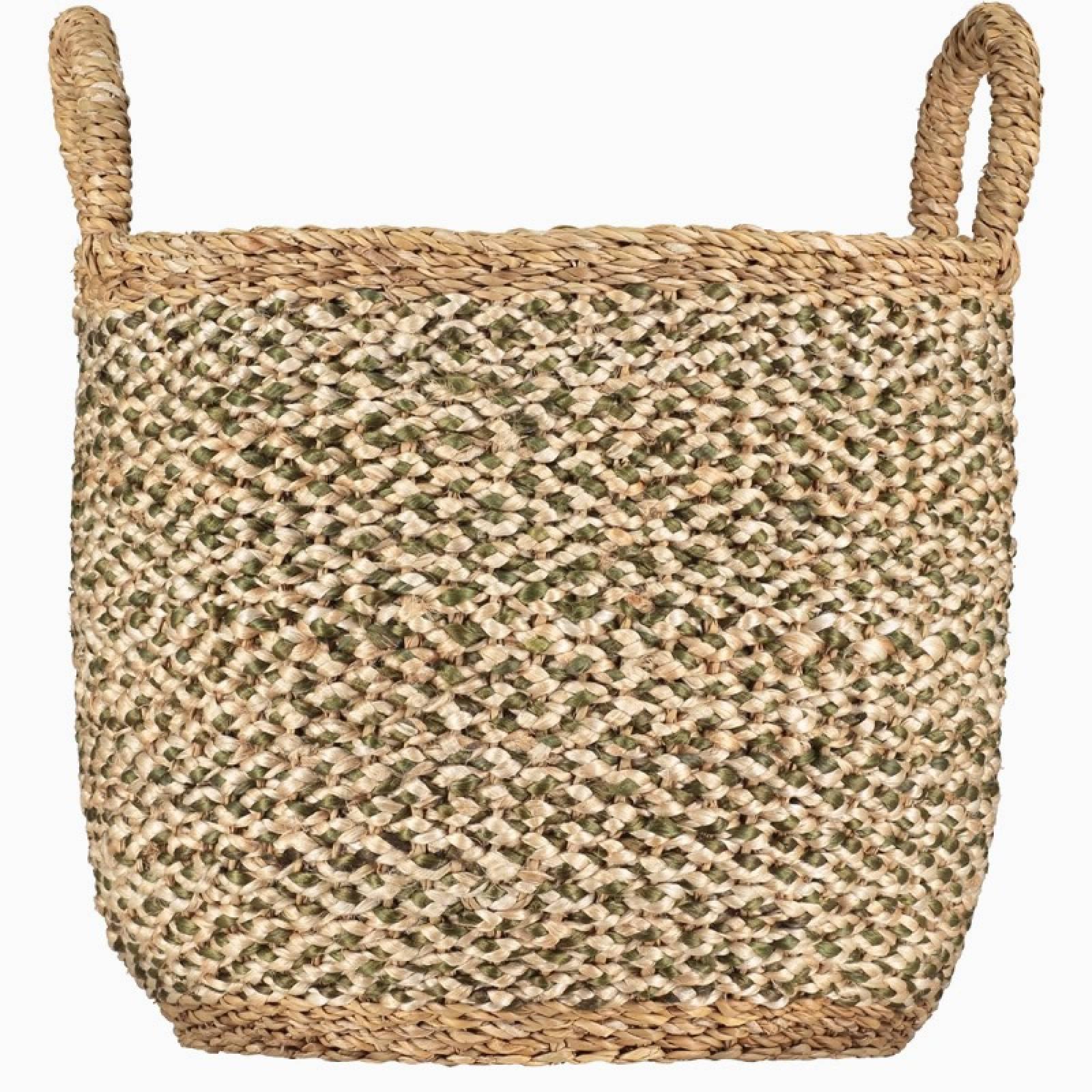 Village Basket Olive & Natural With Natural Handles 33x29cm