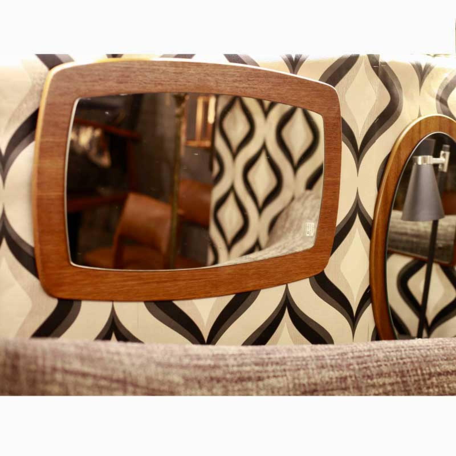 Vintage Inset Teak Mirror 1960s Tapering