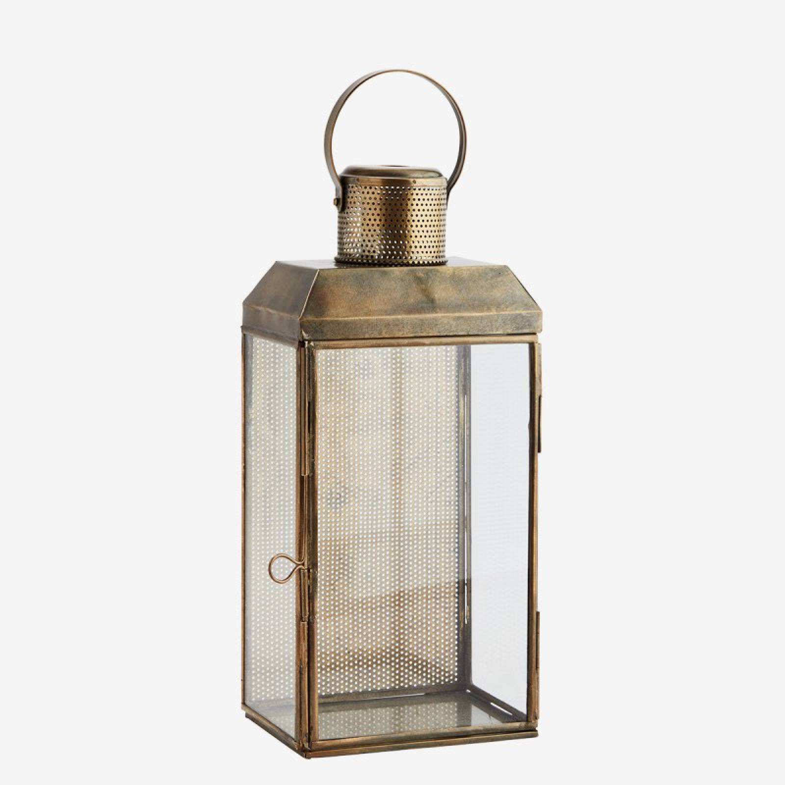 Wall lantern 13,5x10x30 cm Iron, glass - Aged ant.brass, clear