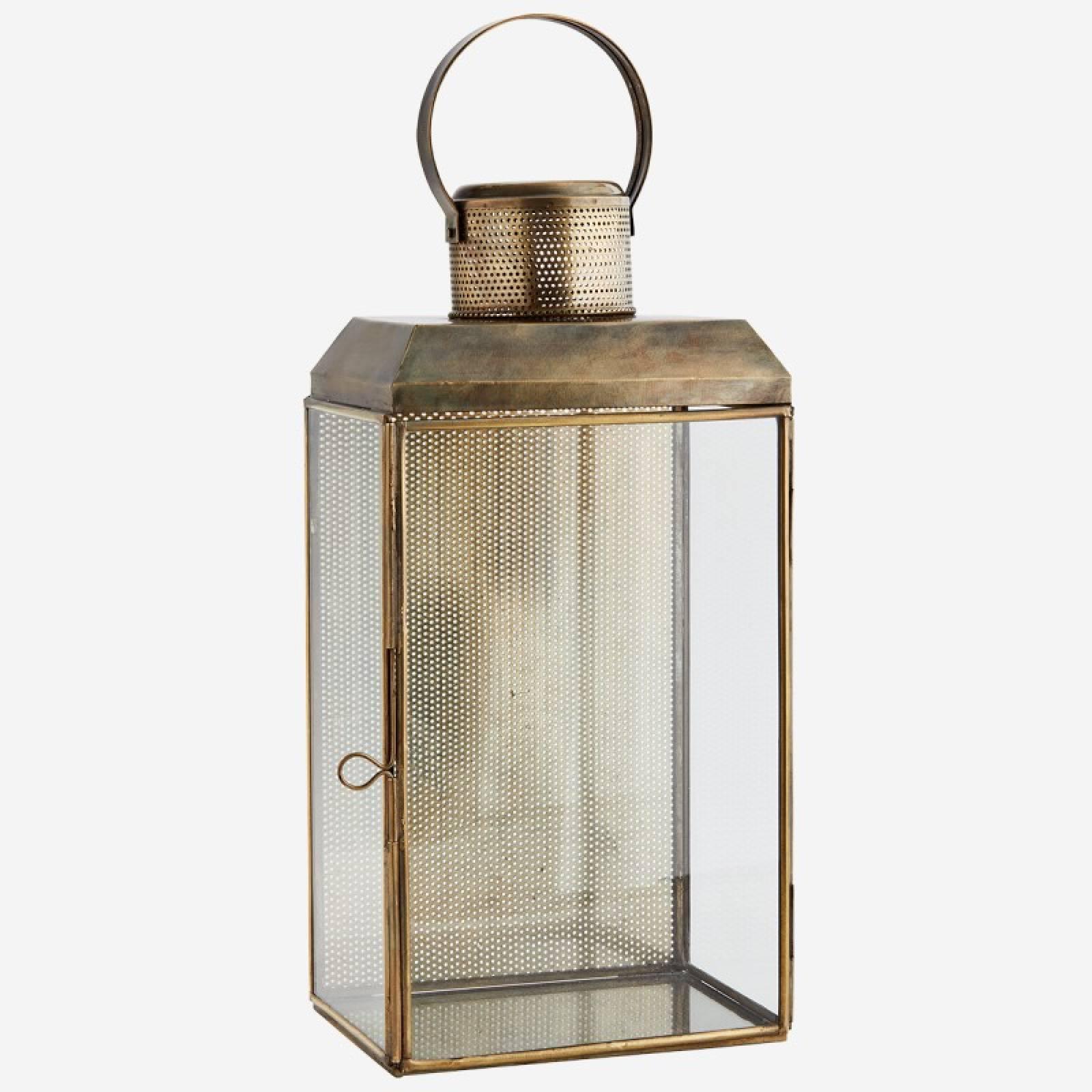 Wall lantern 18x13x36 cm Iron, glass - Aged ant.brass, clear