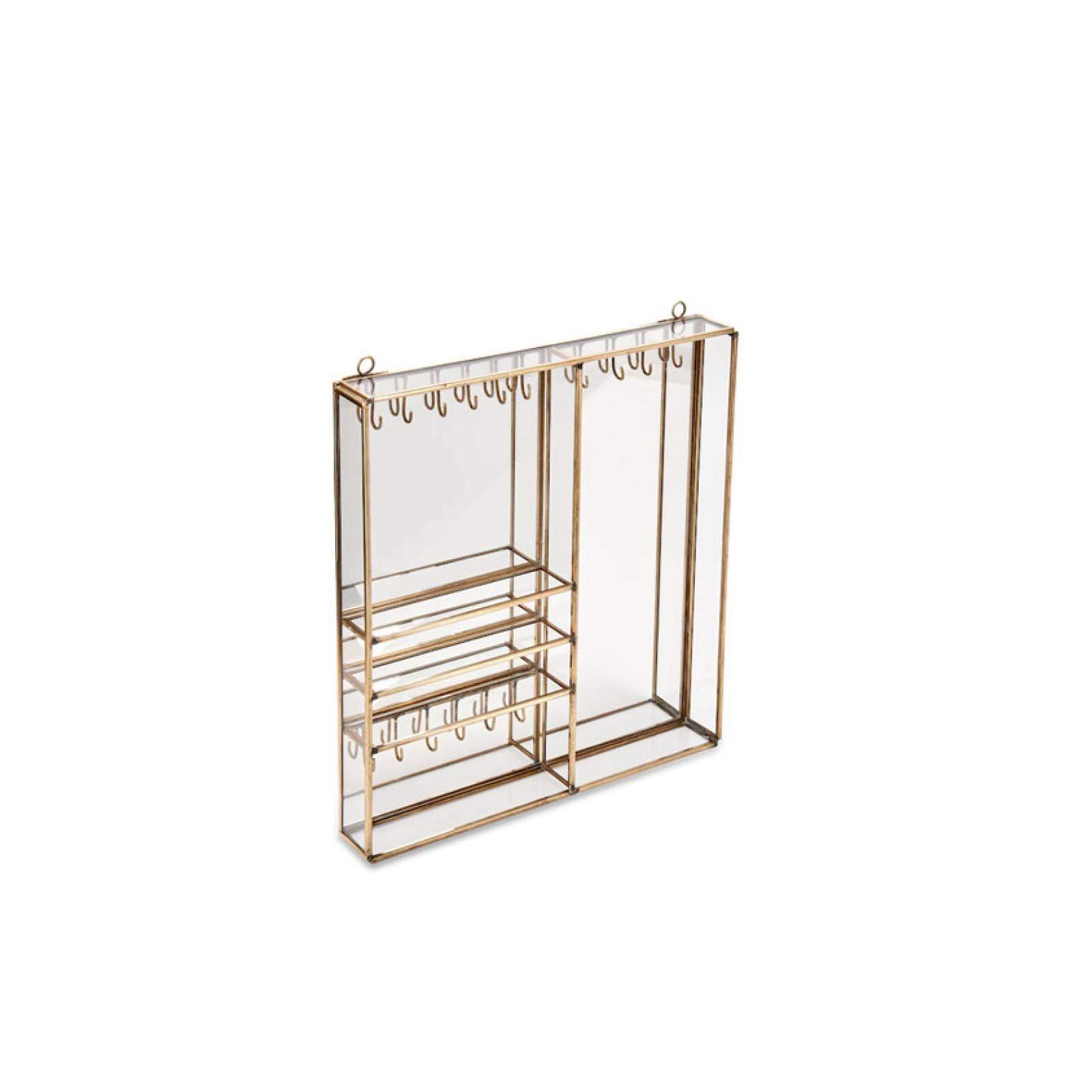 Small Bequai Brass And Glass Wall Mounting Jewellery Box