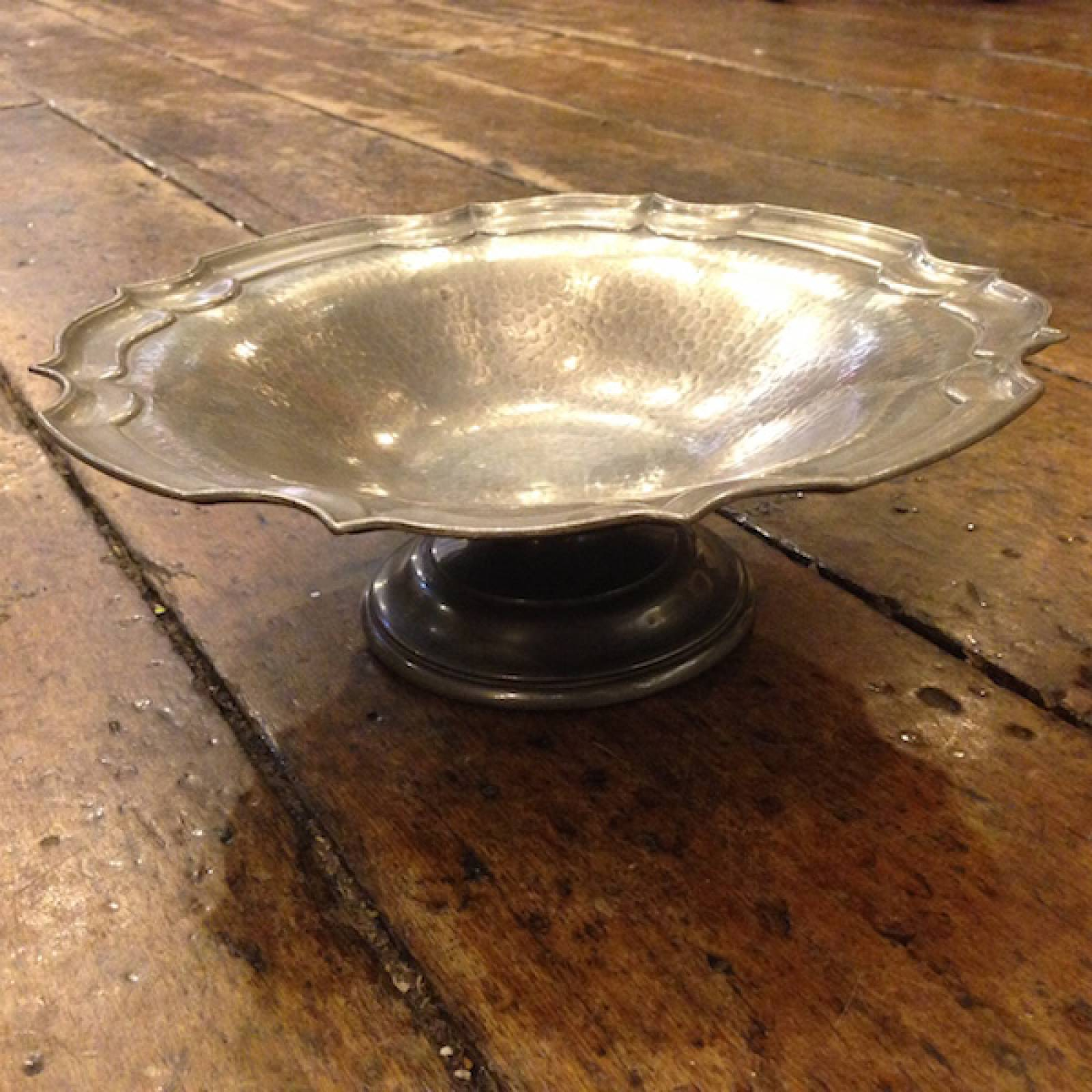 Pewter Pedestal Dish With Decorative Edge thumbnails