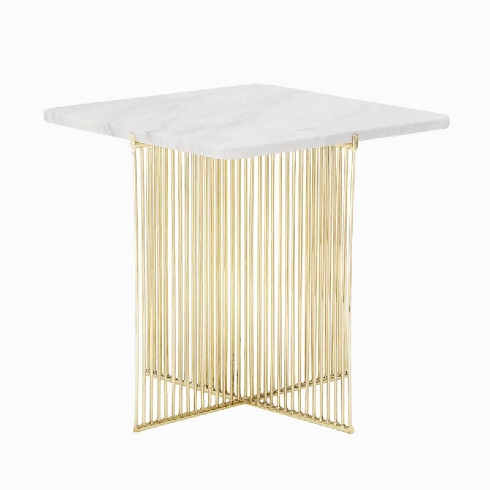 Square White Marble Side Table WIth Gold Base